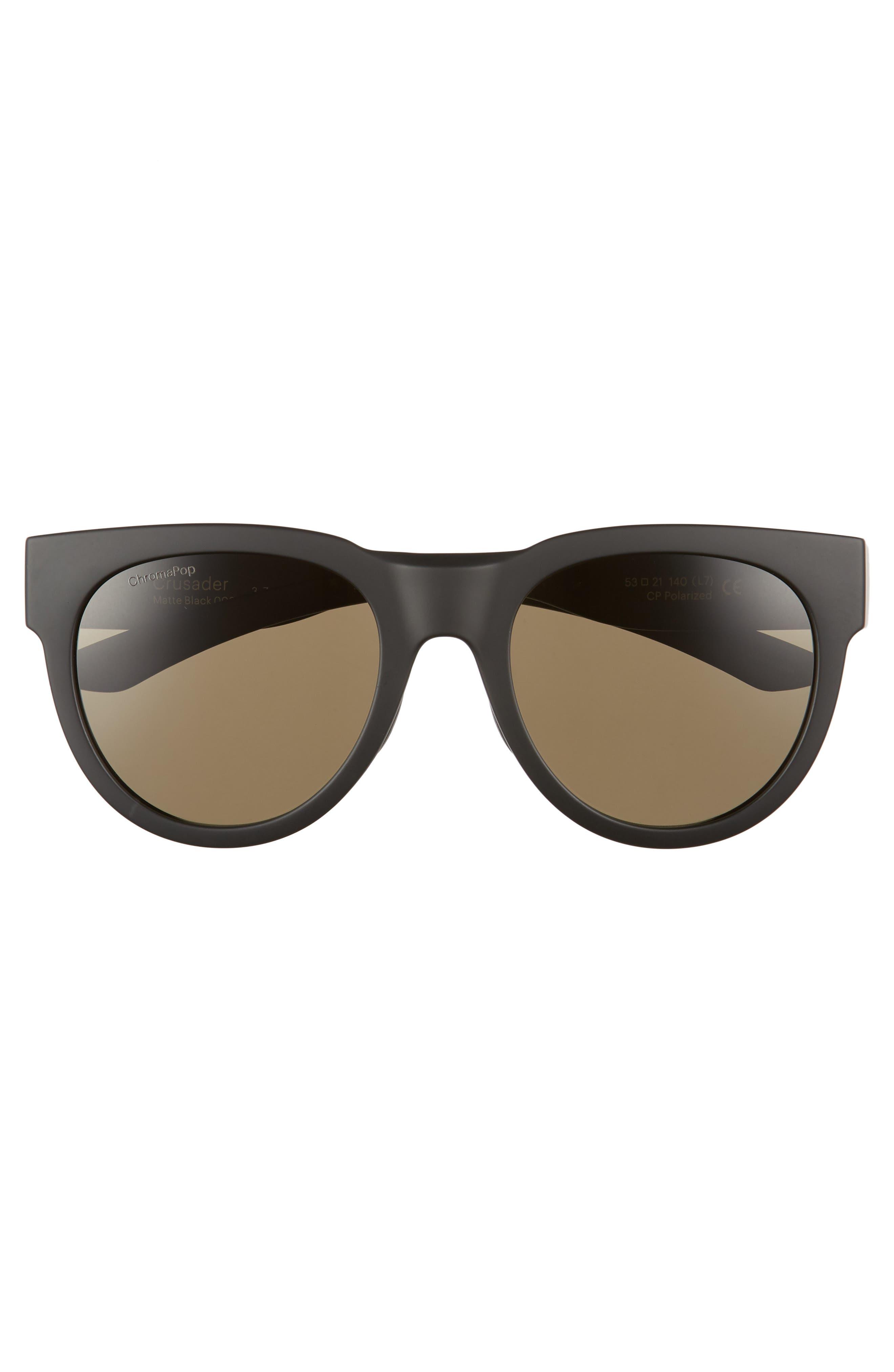 Crusader 53mm ChromaPop<sup>™</sup> Round Sunglasses,                             Alternate thumbnail 3, color,                             Matte Black