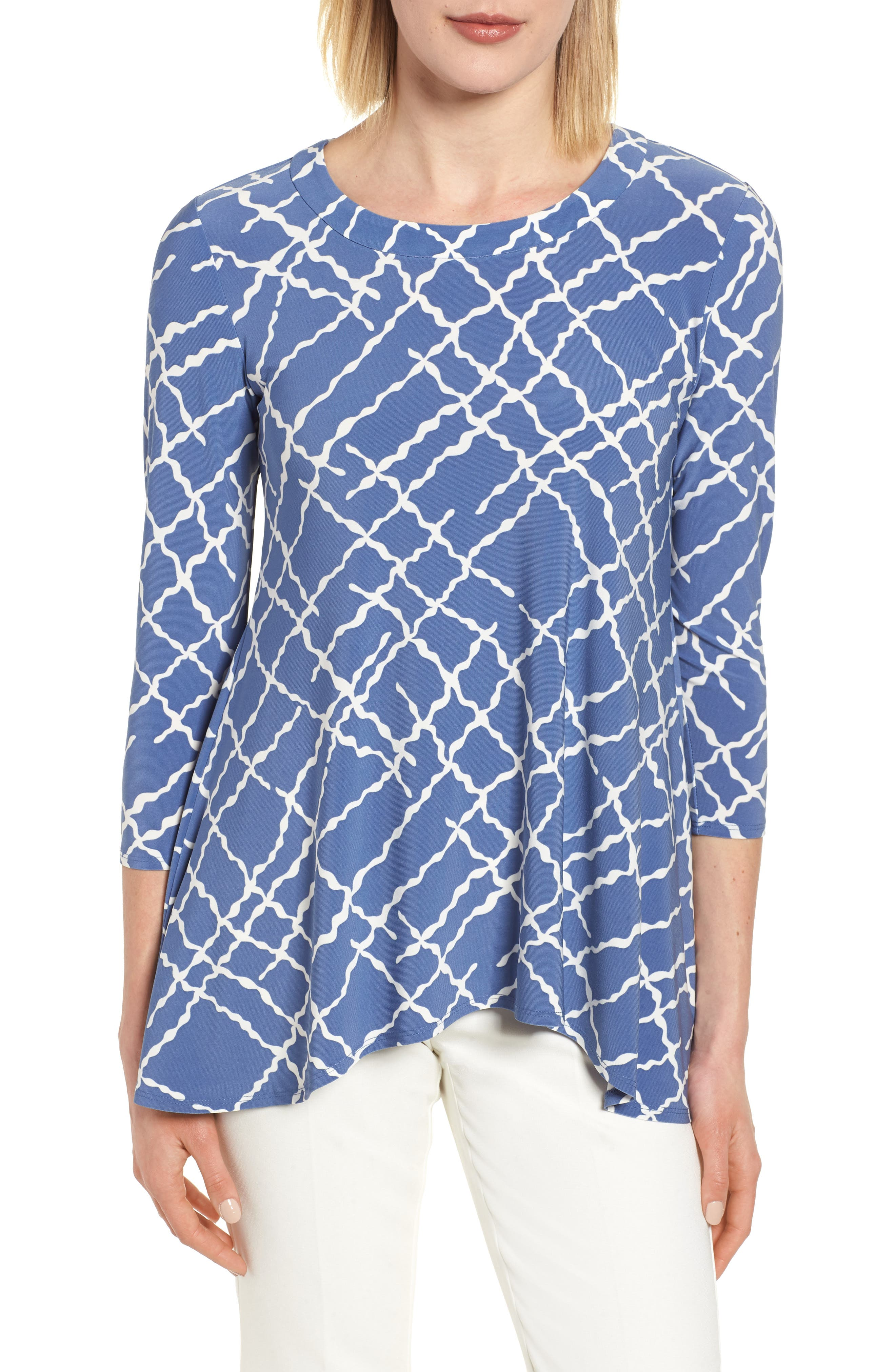 Anne Klein Squiggle Print High/Low Top