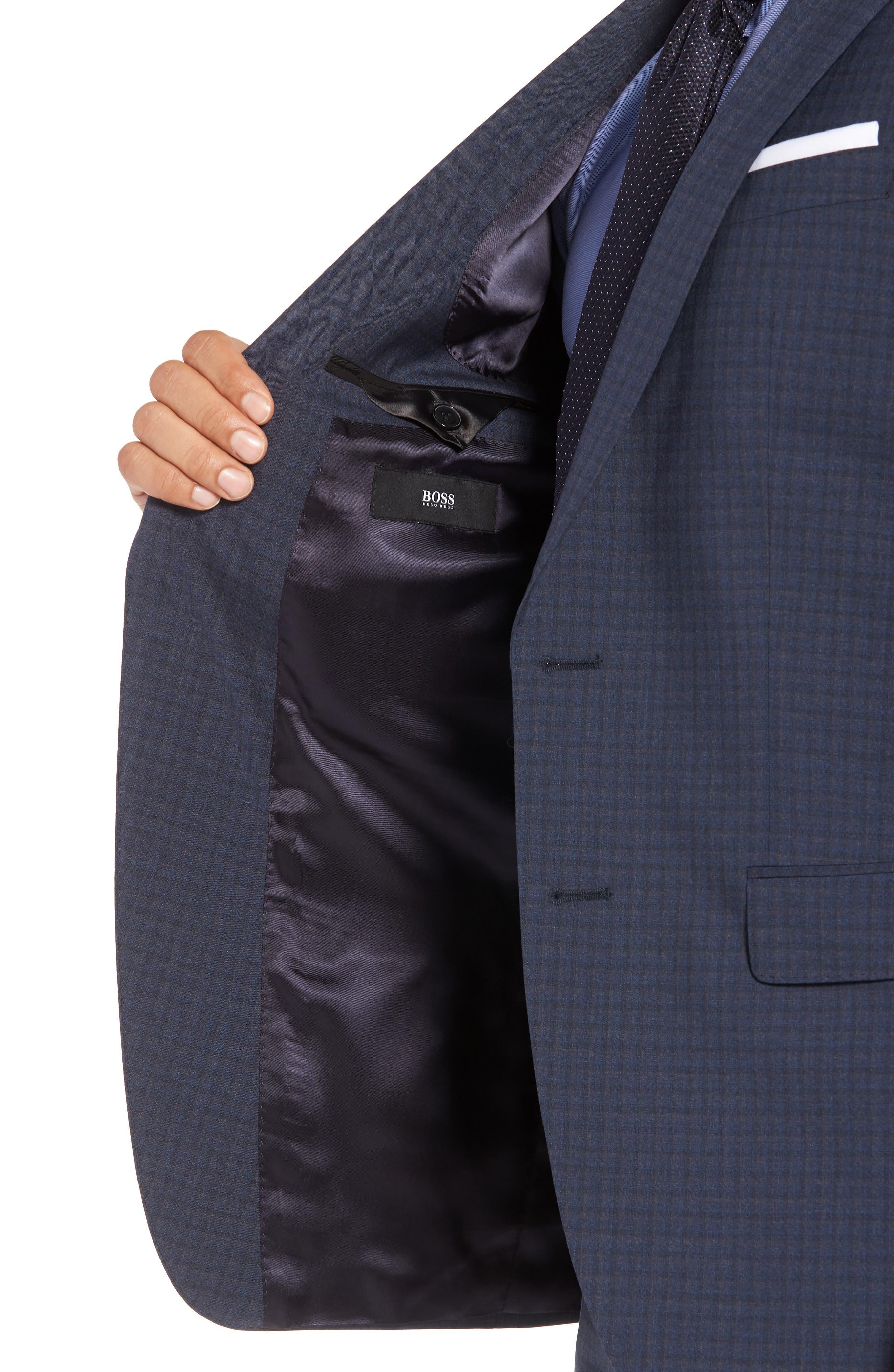 Huge/Genius Trim Fit Check Wool Suit,                             Alternate thumbnail 4, color,                             Blue/ Brown/ Charcoal