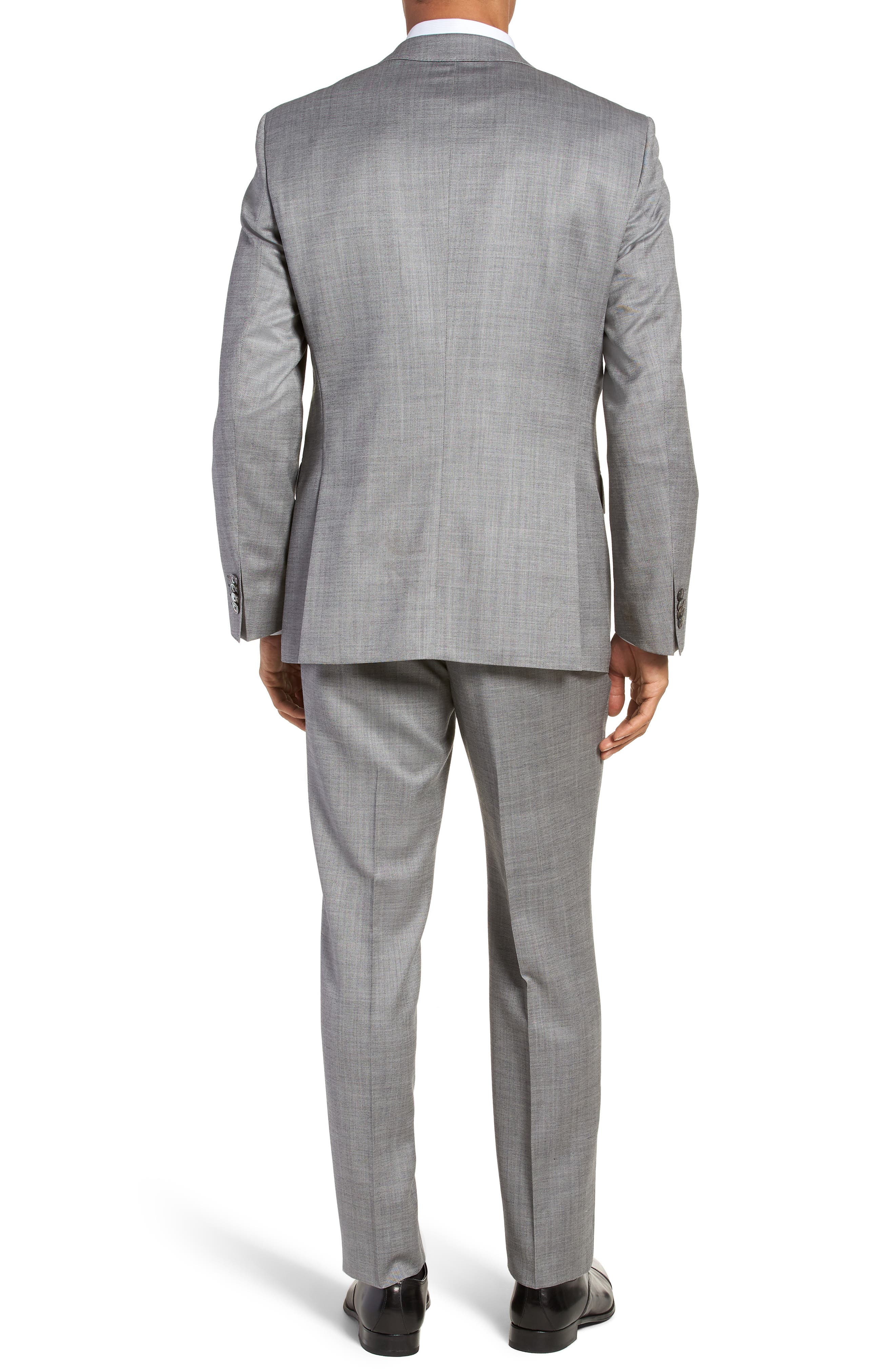 Hutsons/Gander Trim Fit Solid Wool & Silk Suit,                             Alternate thumbnail 2, color,                             Light Grey