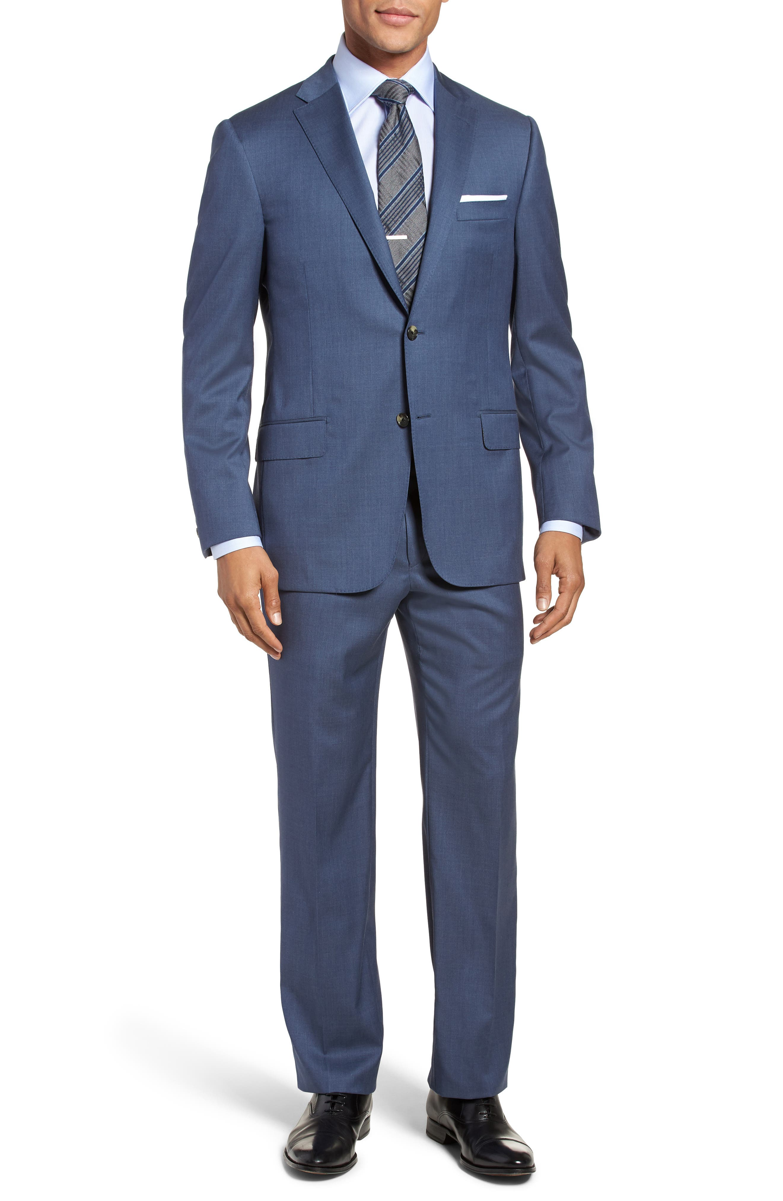 Main Image - Hickey Freeman Classic B Fit Solid Wool Suit