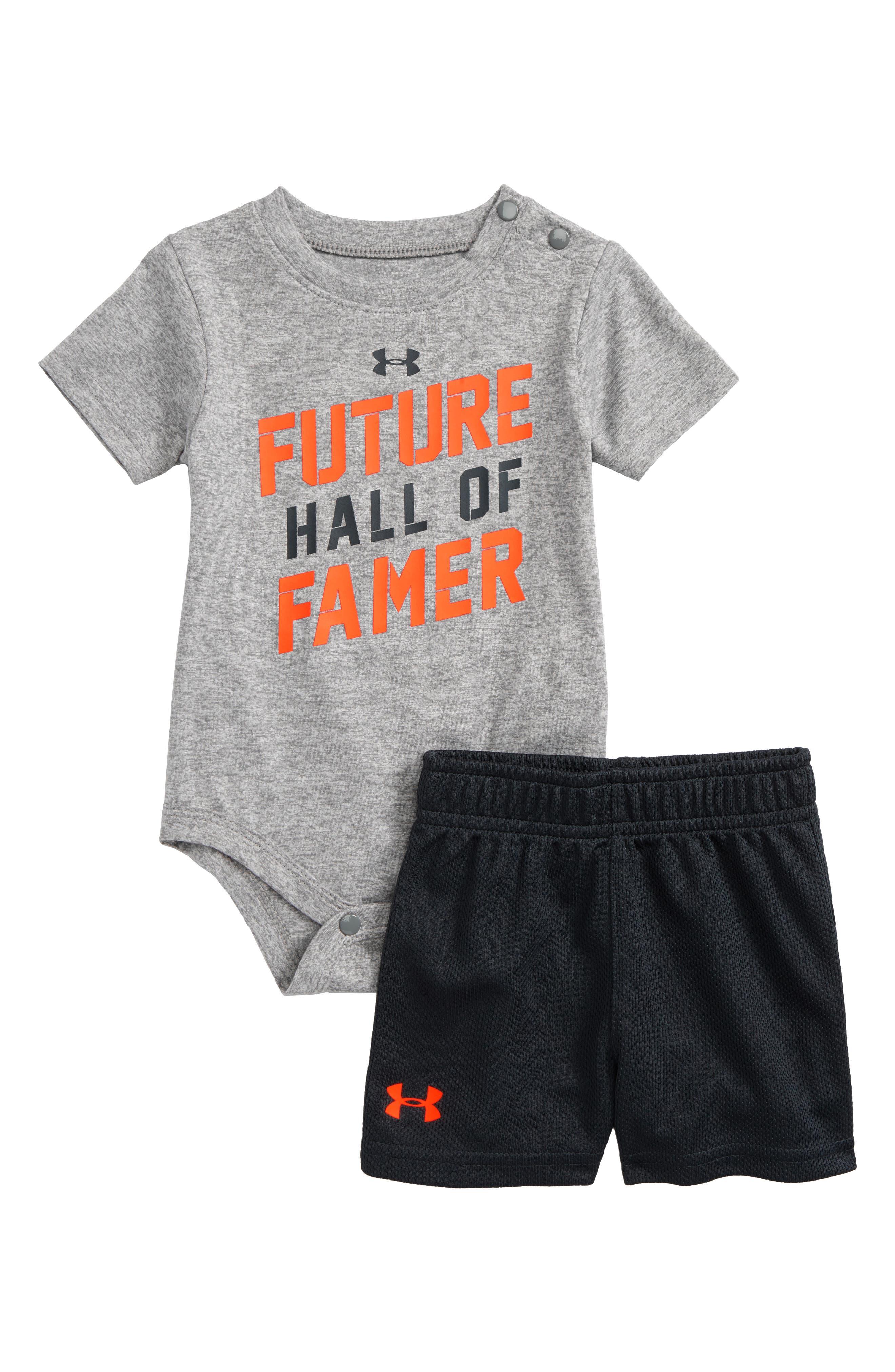 Future Hall of Famer Bodysuit & Mesh Shorts Set,                         Main,                         color, True Grey Heather