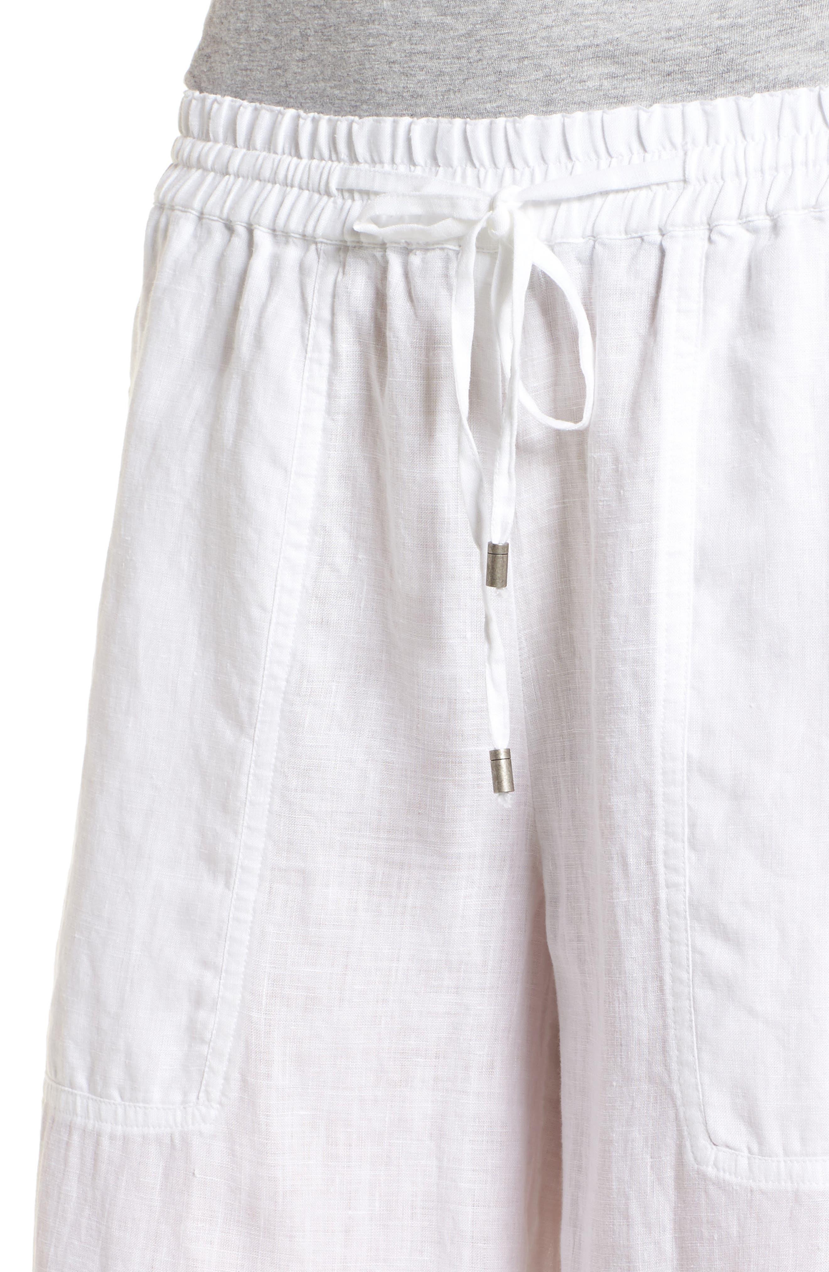 Wide Leg Organic Linen Pants,                             Alternate thumbnail 4, color,                             White