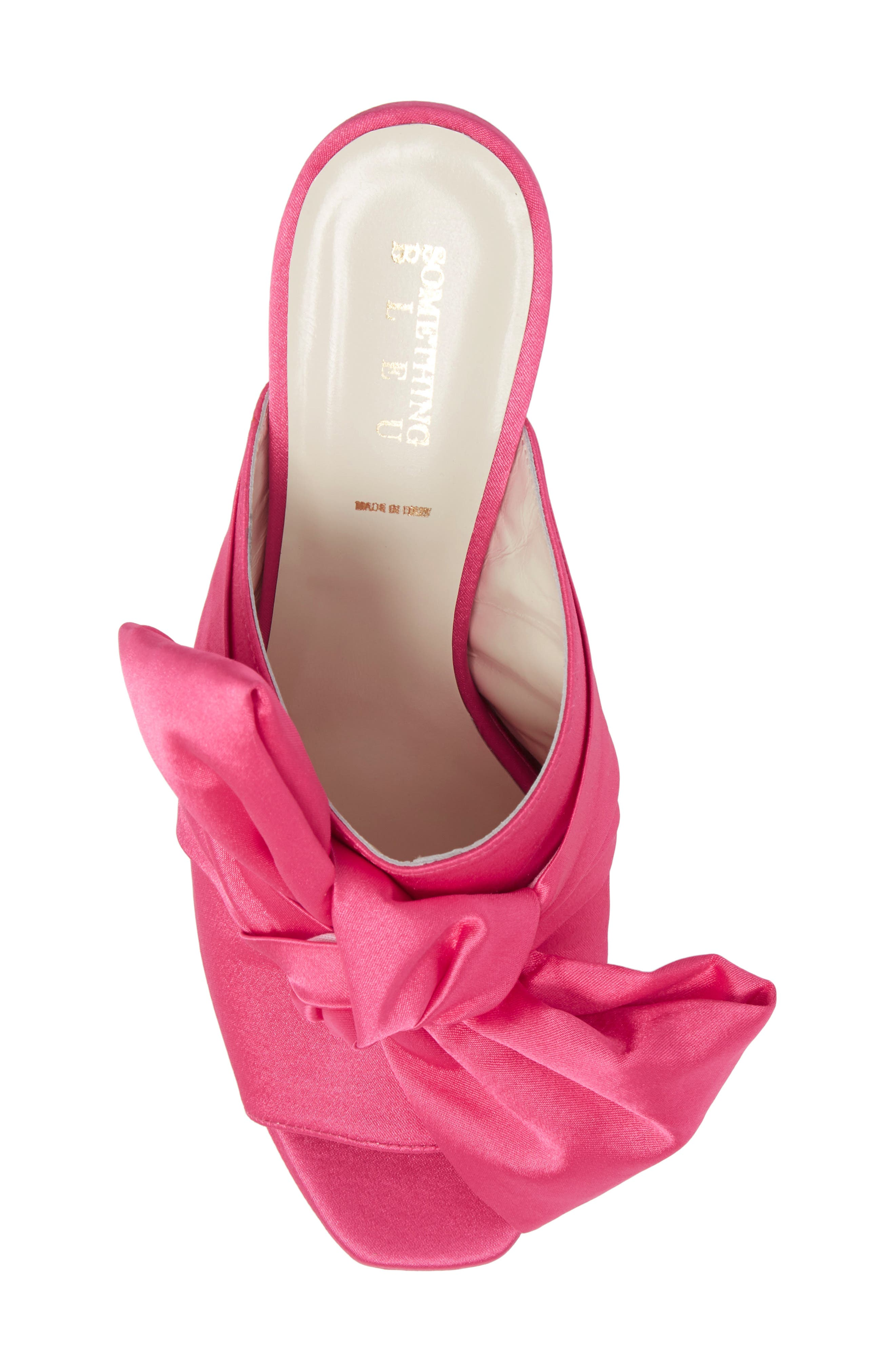 Elisa Knotted Bow Mule,                             Alternate thumbnail 5, color,                             Hot Pink Satin