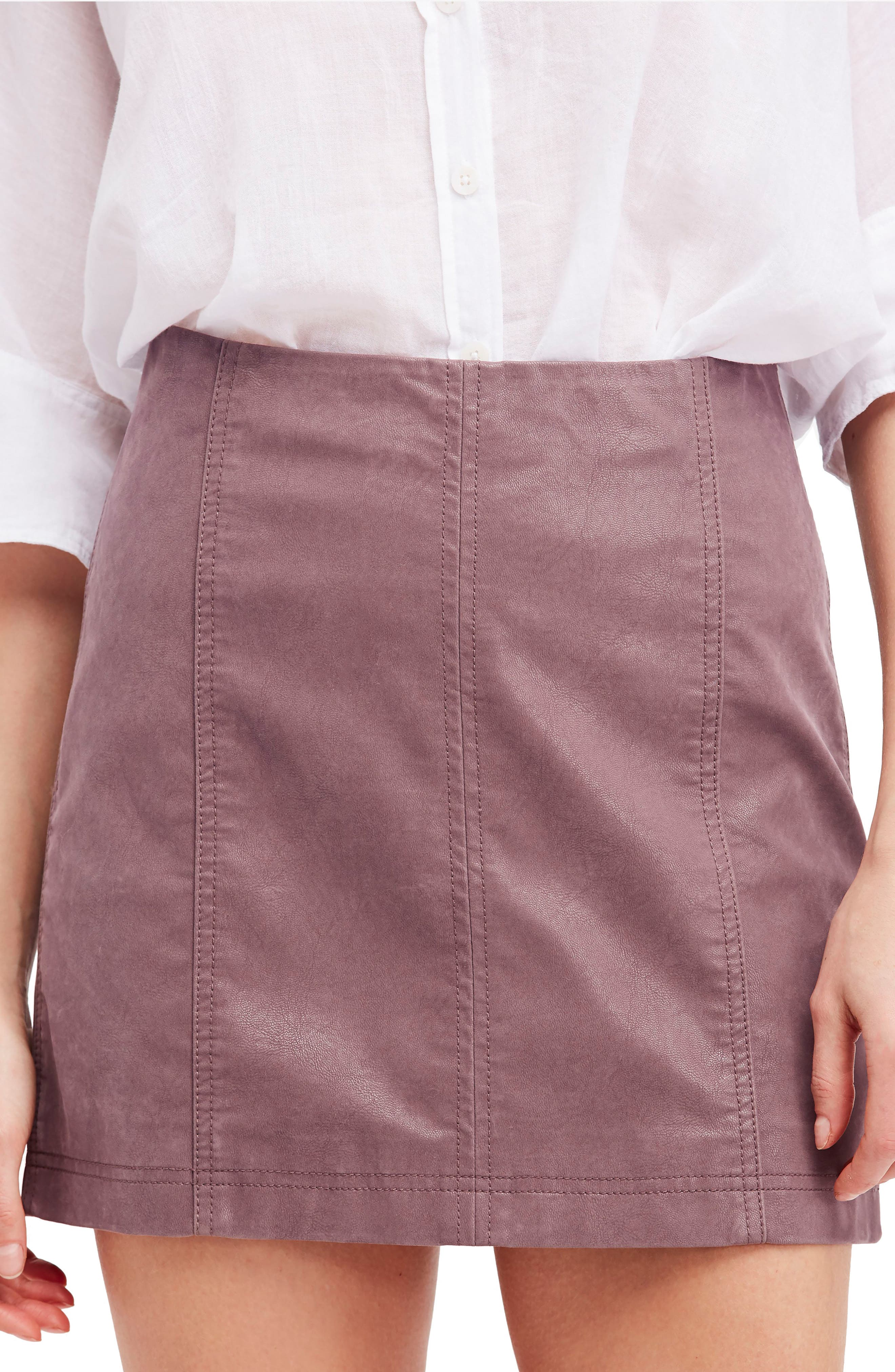 Faux Leather Miniskirt,                             Main thumbnail 1, color,                             Mauve