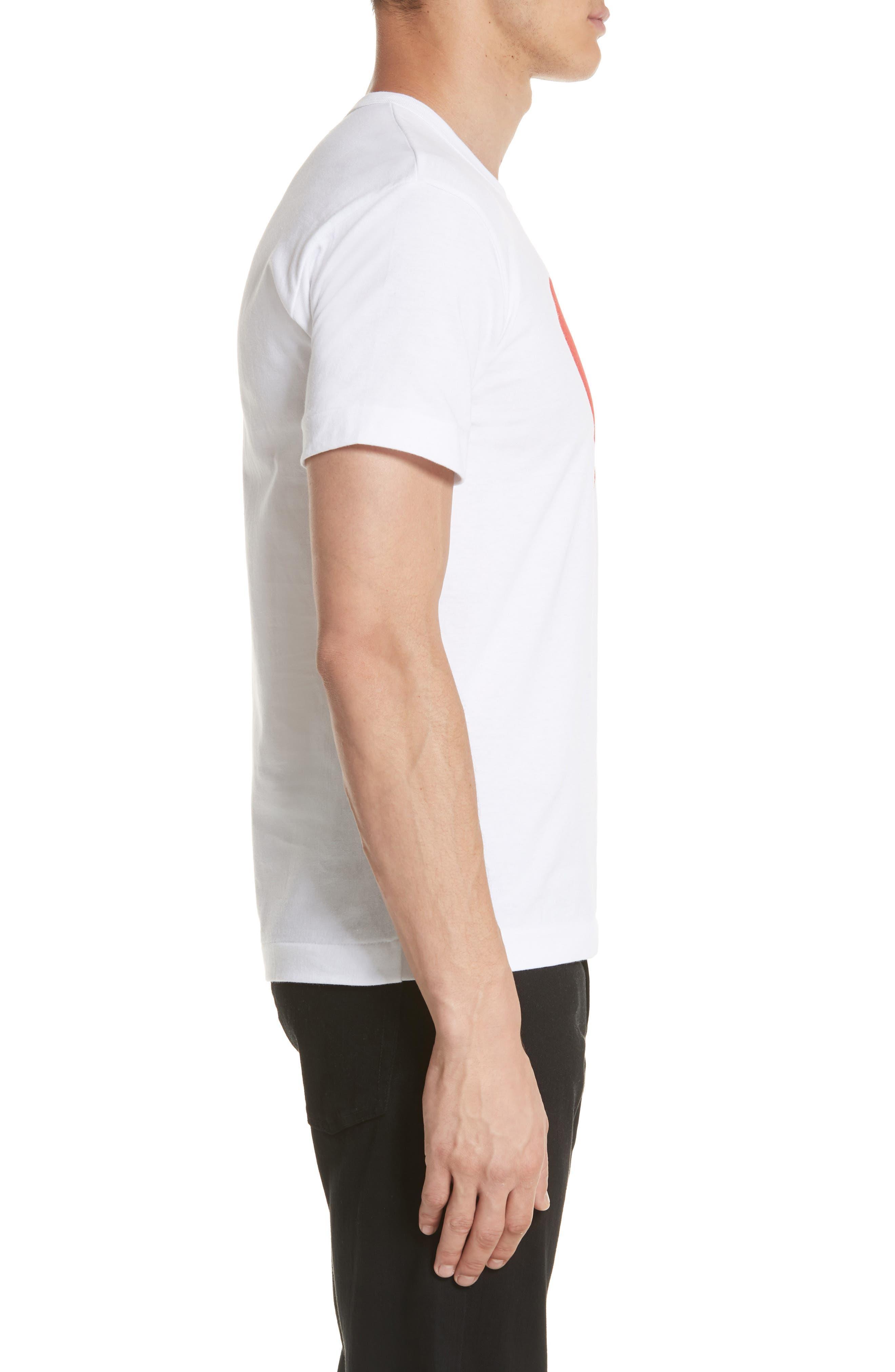 Comme des Garçons PLAY Graphic T-Shirt,                             Alternate thumbnail 3, color,                             1 White