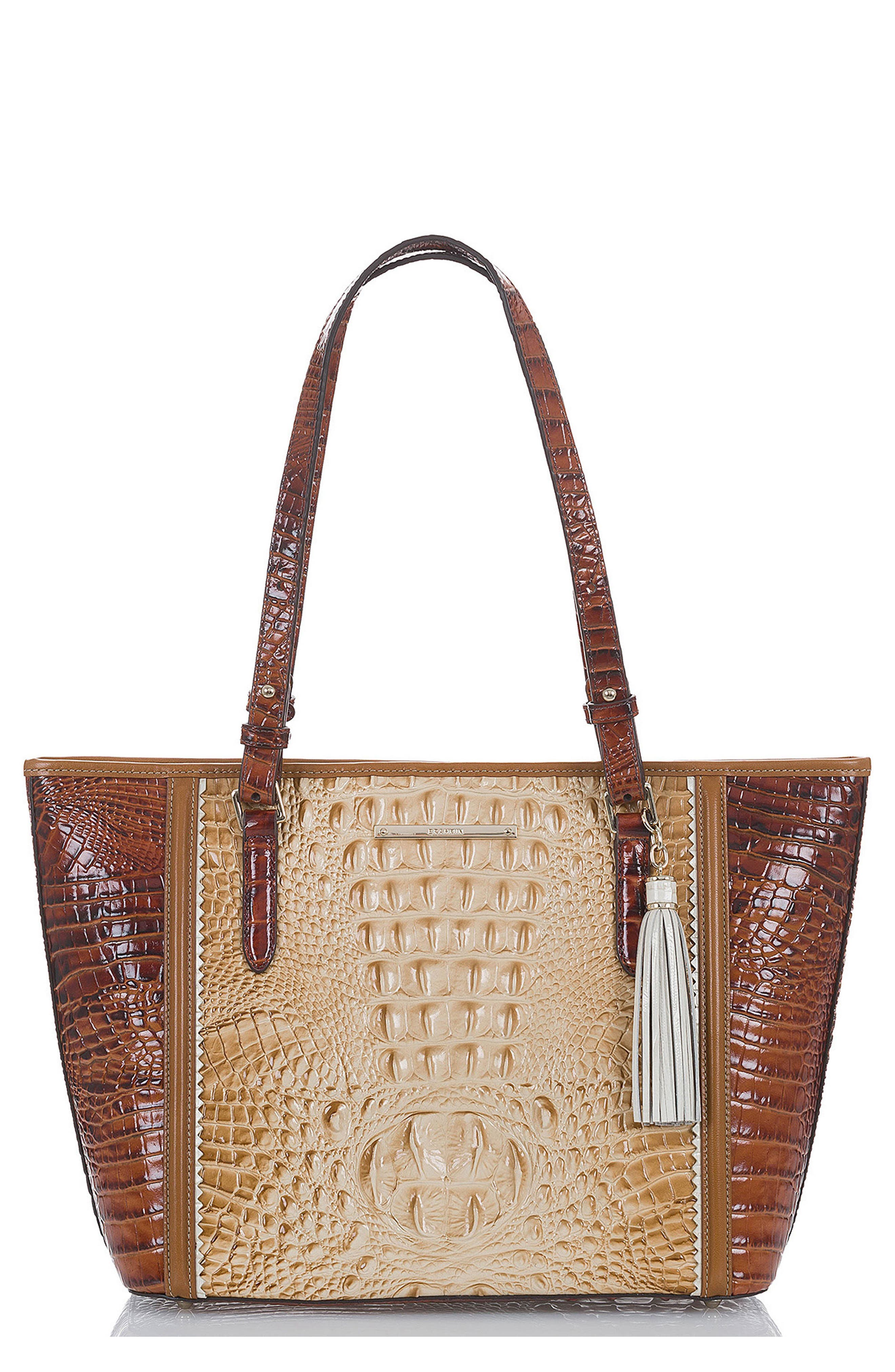Medium Asher Embossed Leather Tote,                         Main,                         color, Chino