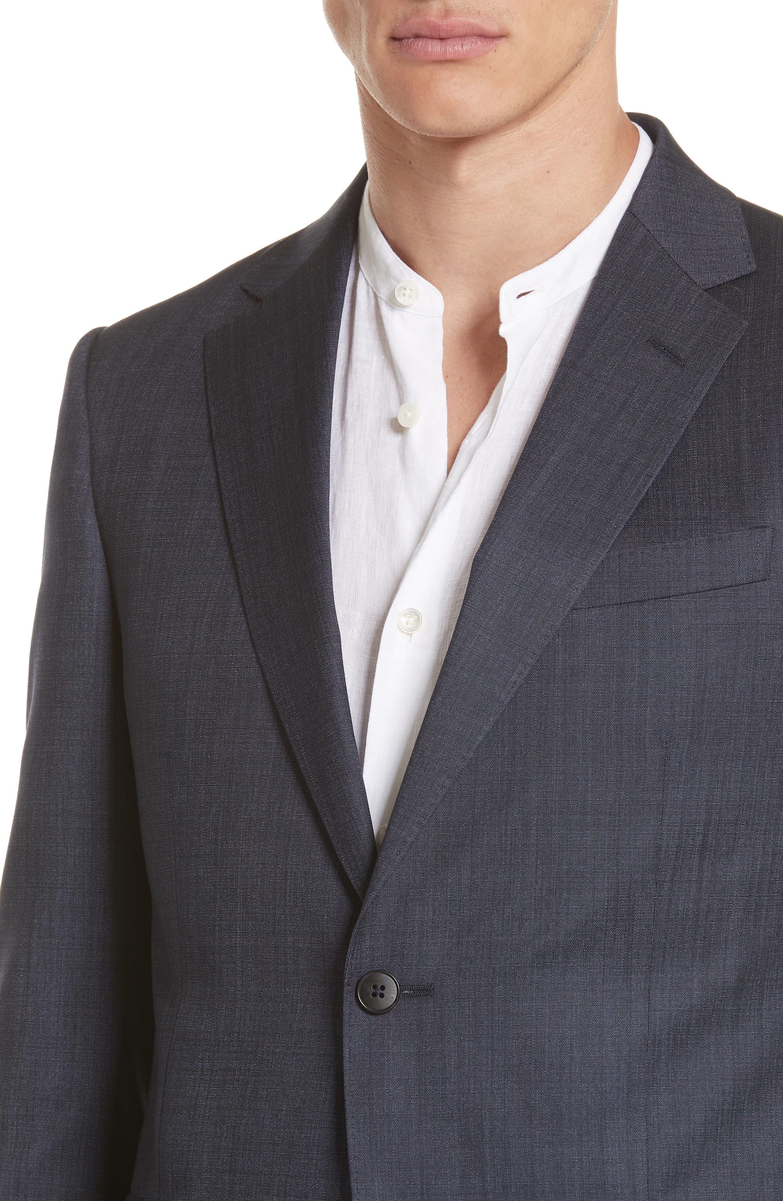 Trim Fit Solid Wool & Silk Suit,                             Alternate thumbnail 4, color,                             Navy