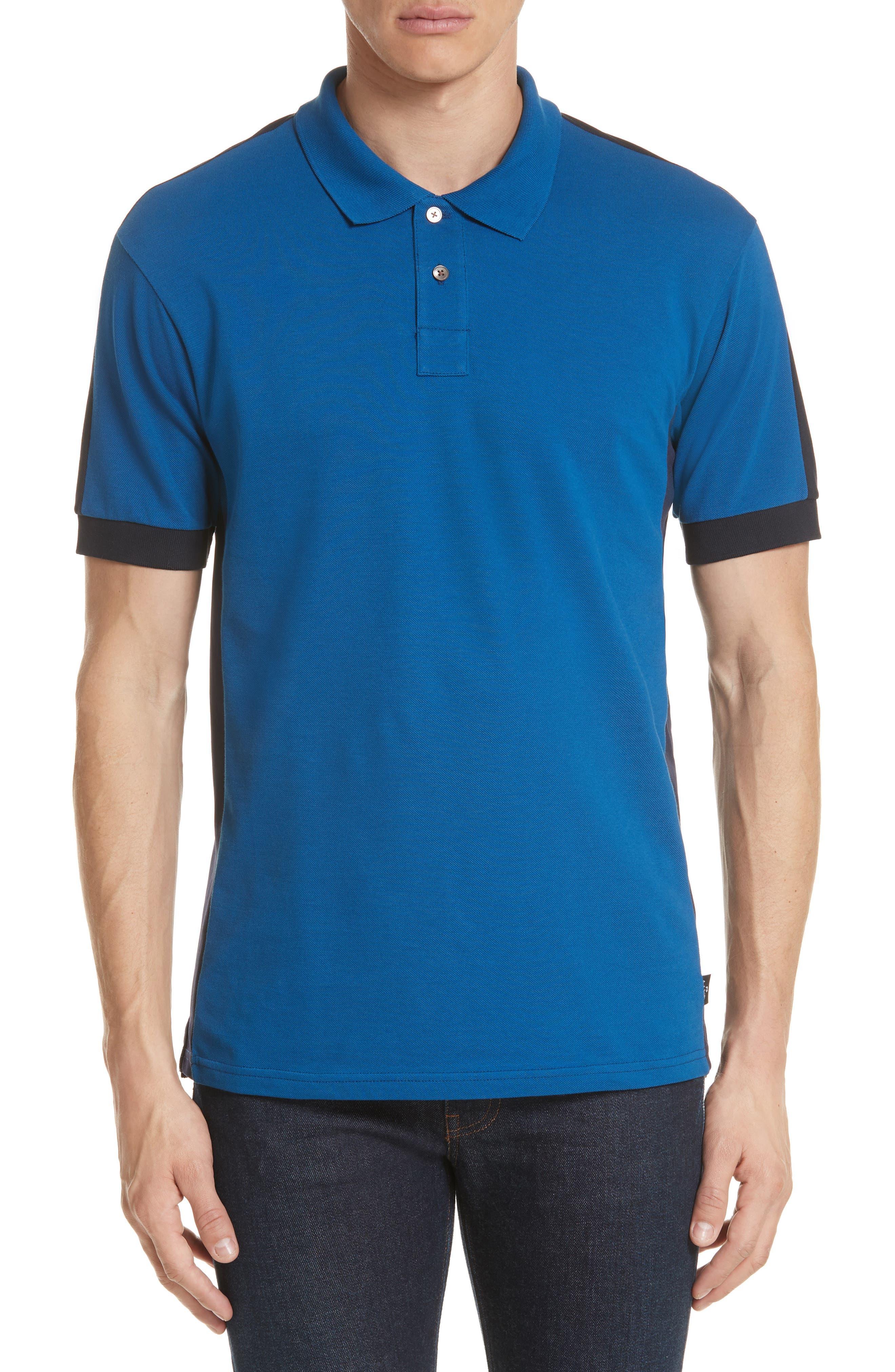 Colorblock Jersey Polo,                         Main,                         color, Blue
