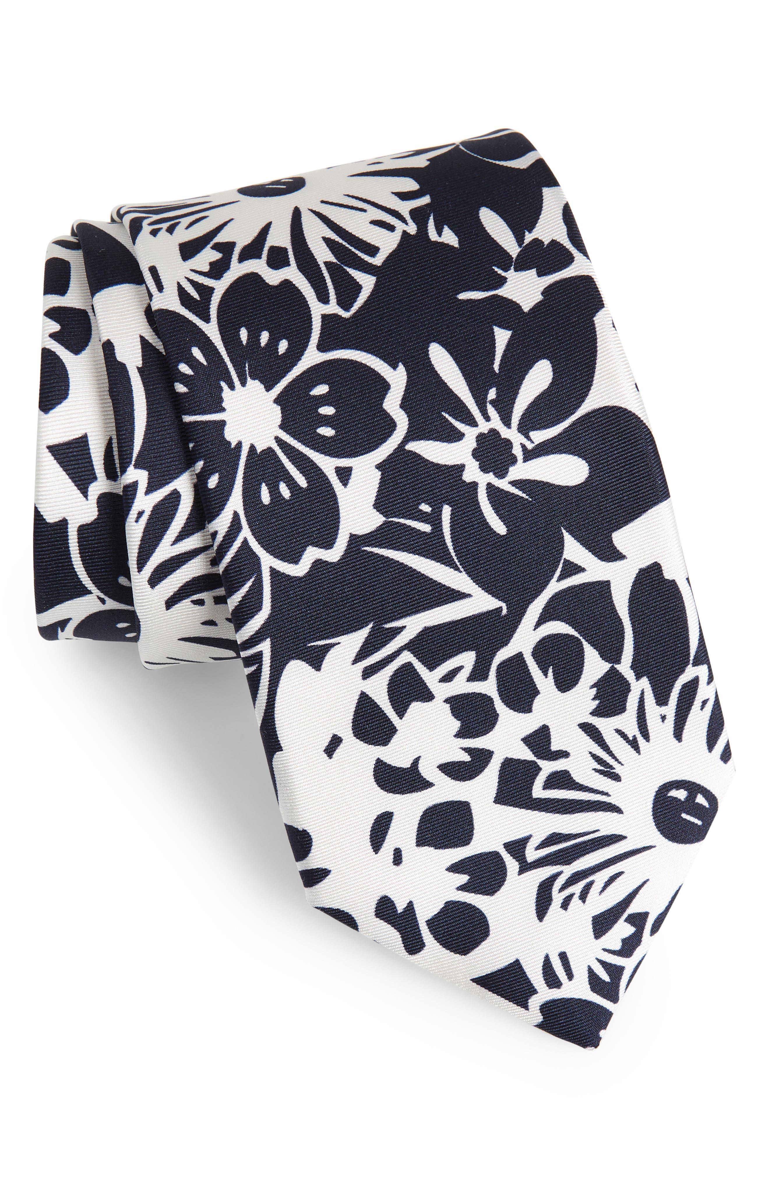 Potts Floral Silk Tie,                         Main,                         color, Dark Navy