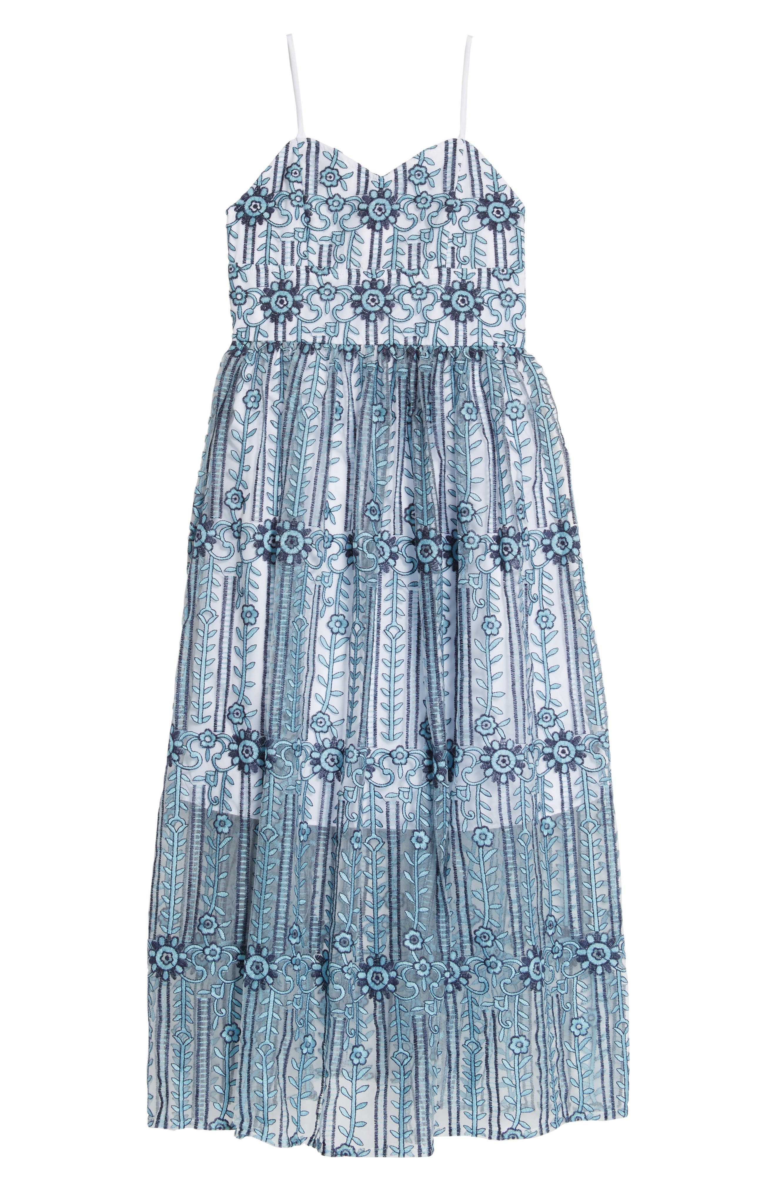 Embroidered Maxi Dress,                         Main,                         color, Blue