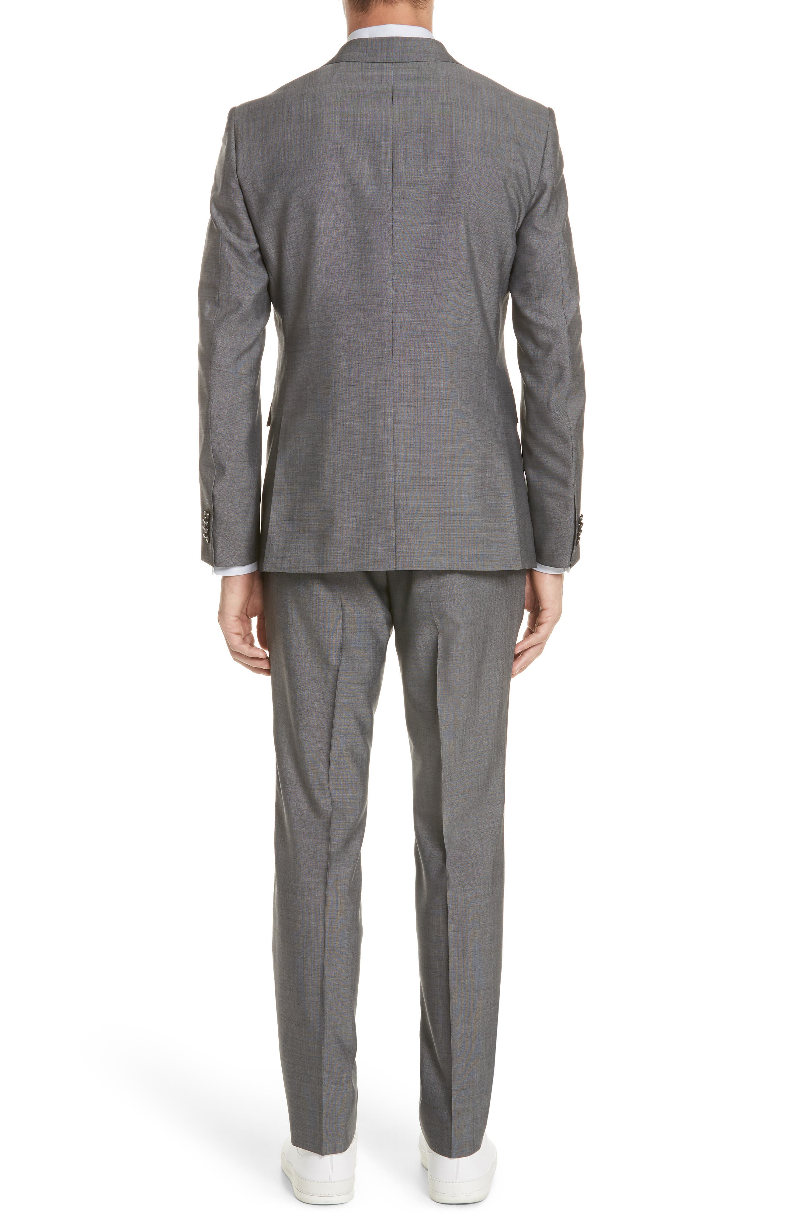 Trim Fit Solid Wool & Silk Suit,                             Alternate thumbnail 2, color,                             Grey