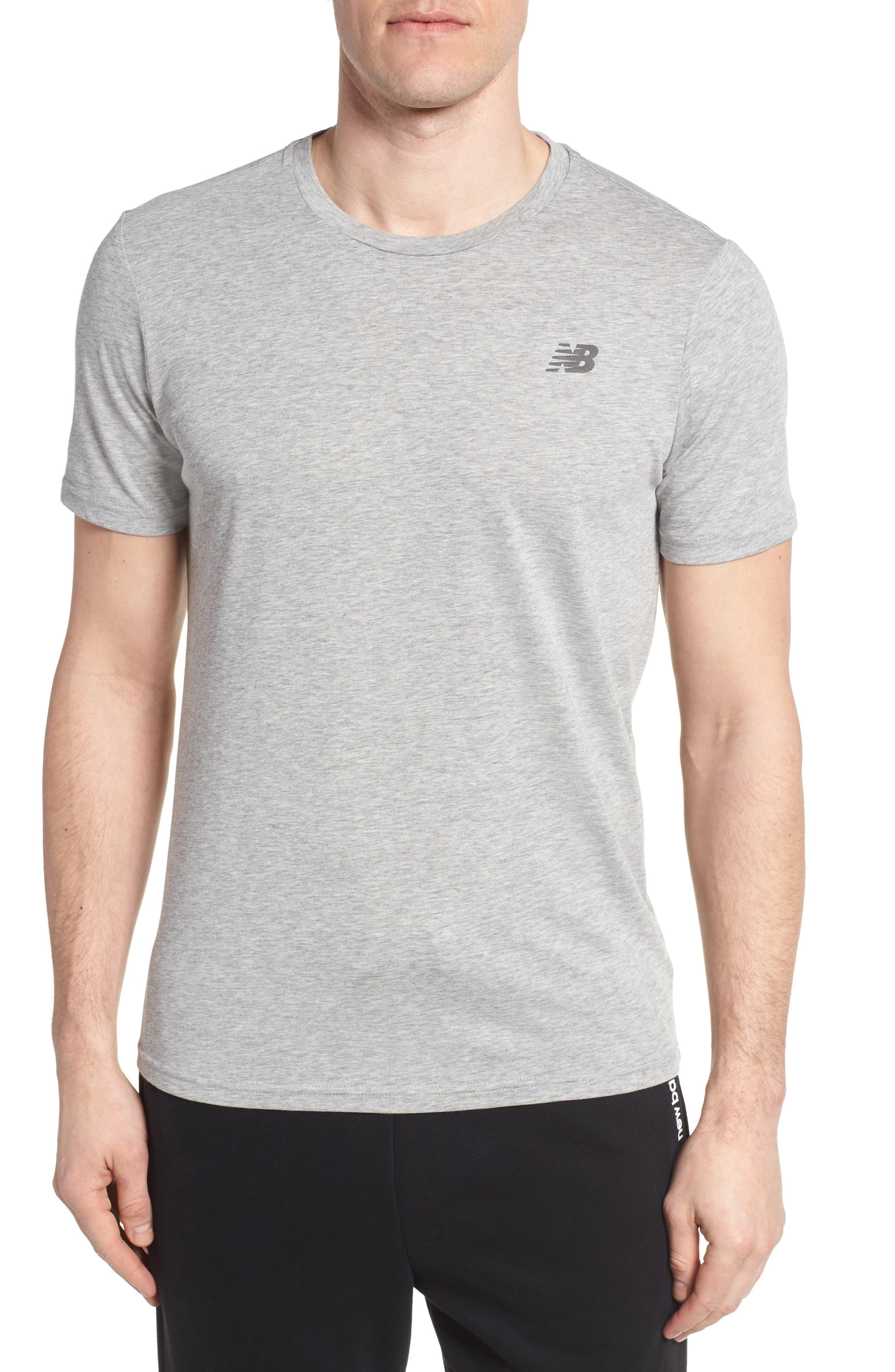 Heather Tech Crewneck T-Shirt,                         Main,                         color, Athletic Grey