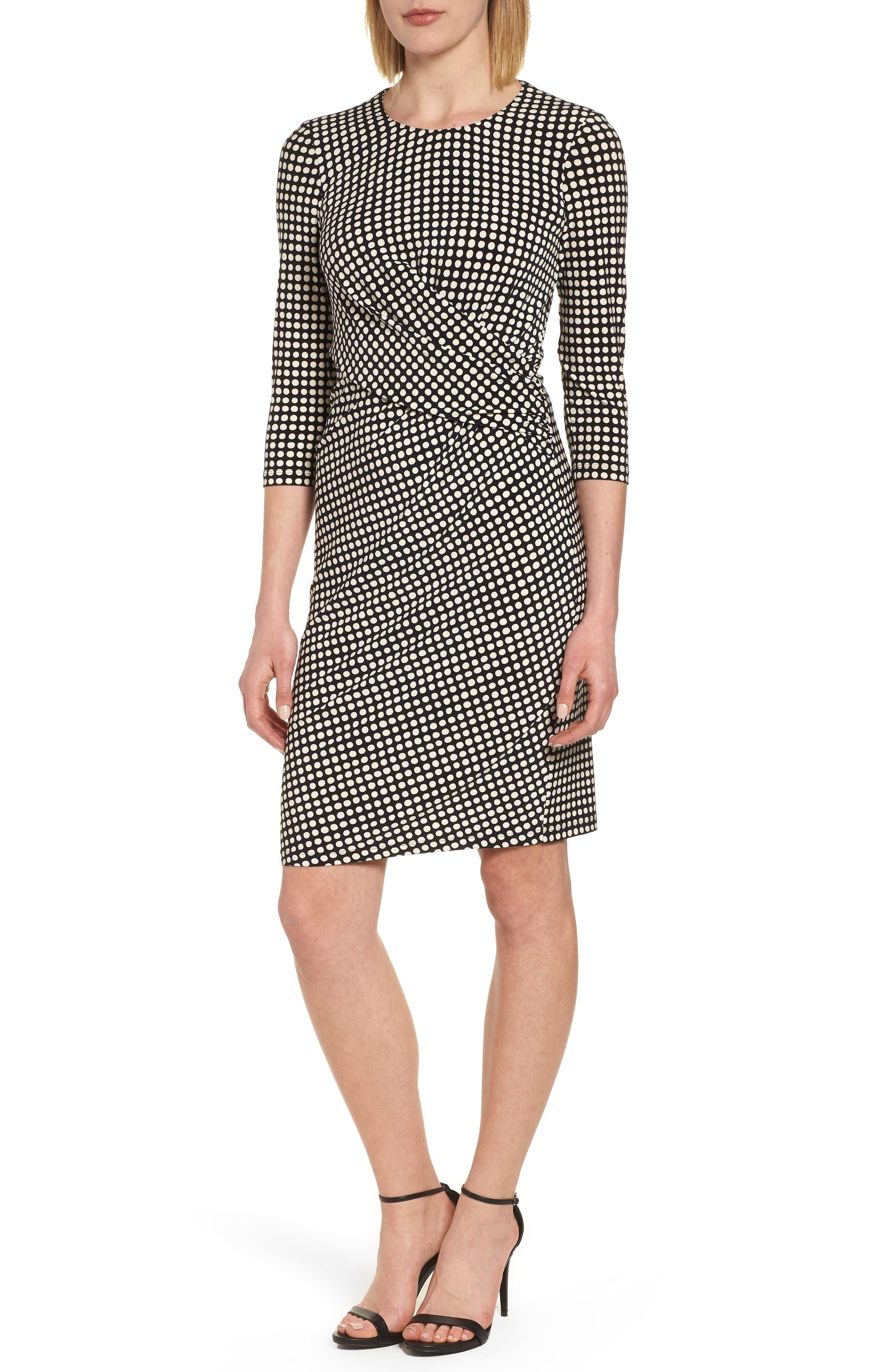 Polka Dot Faux Wrap Dress,                         Main,                         color, Black/ Parchment