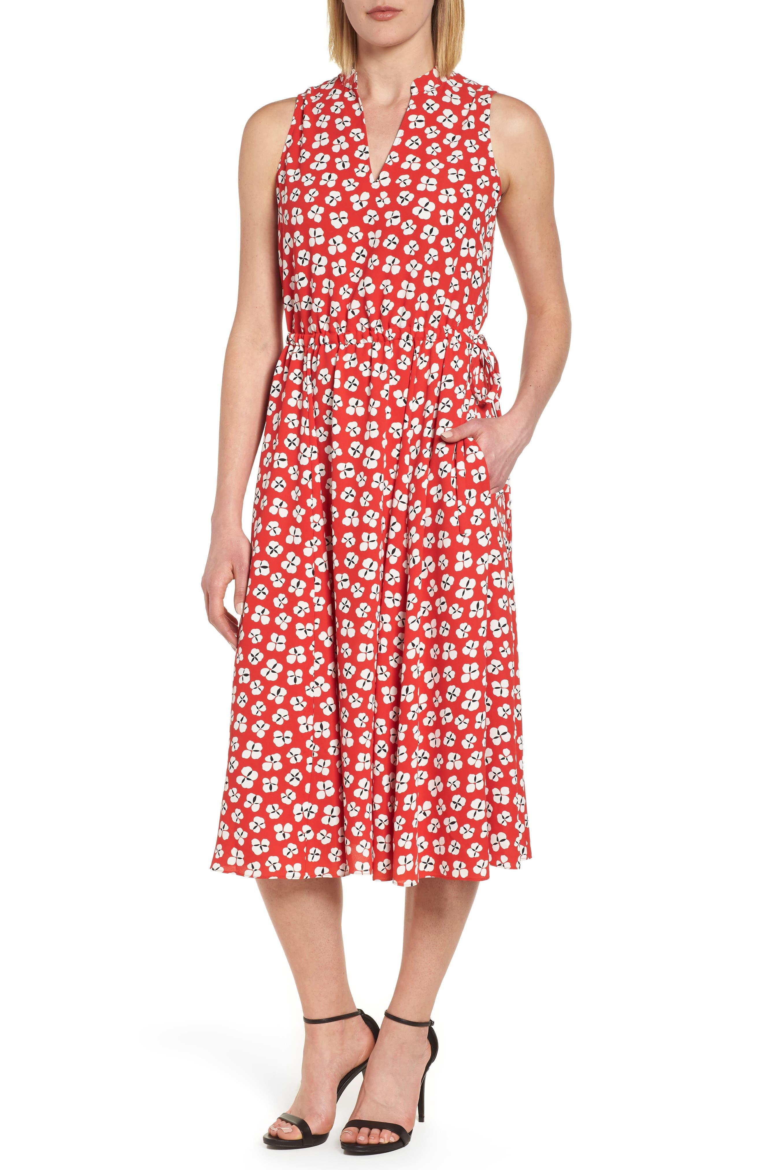 Zuma Petal Drawstring Midi Dress,                             Main thumbnail 1, color,                             Tomato/ Parchment Combo