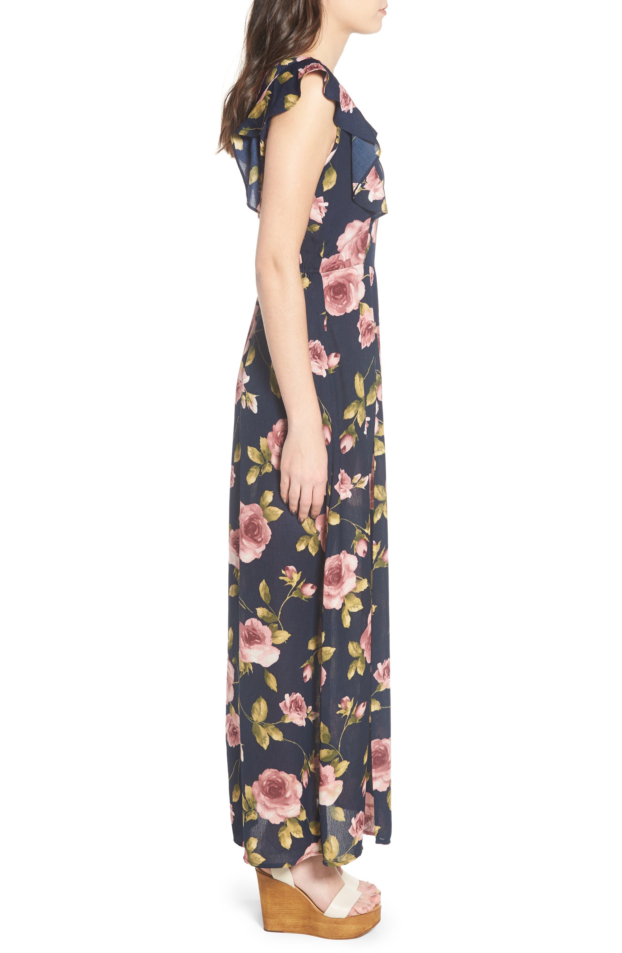 Flutter Sleeve Maxi Dress,                             Alternate thumbnail 3, color,                             Navy Blush