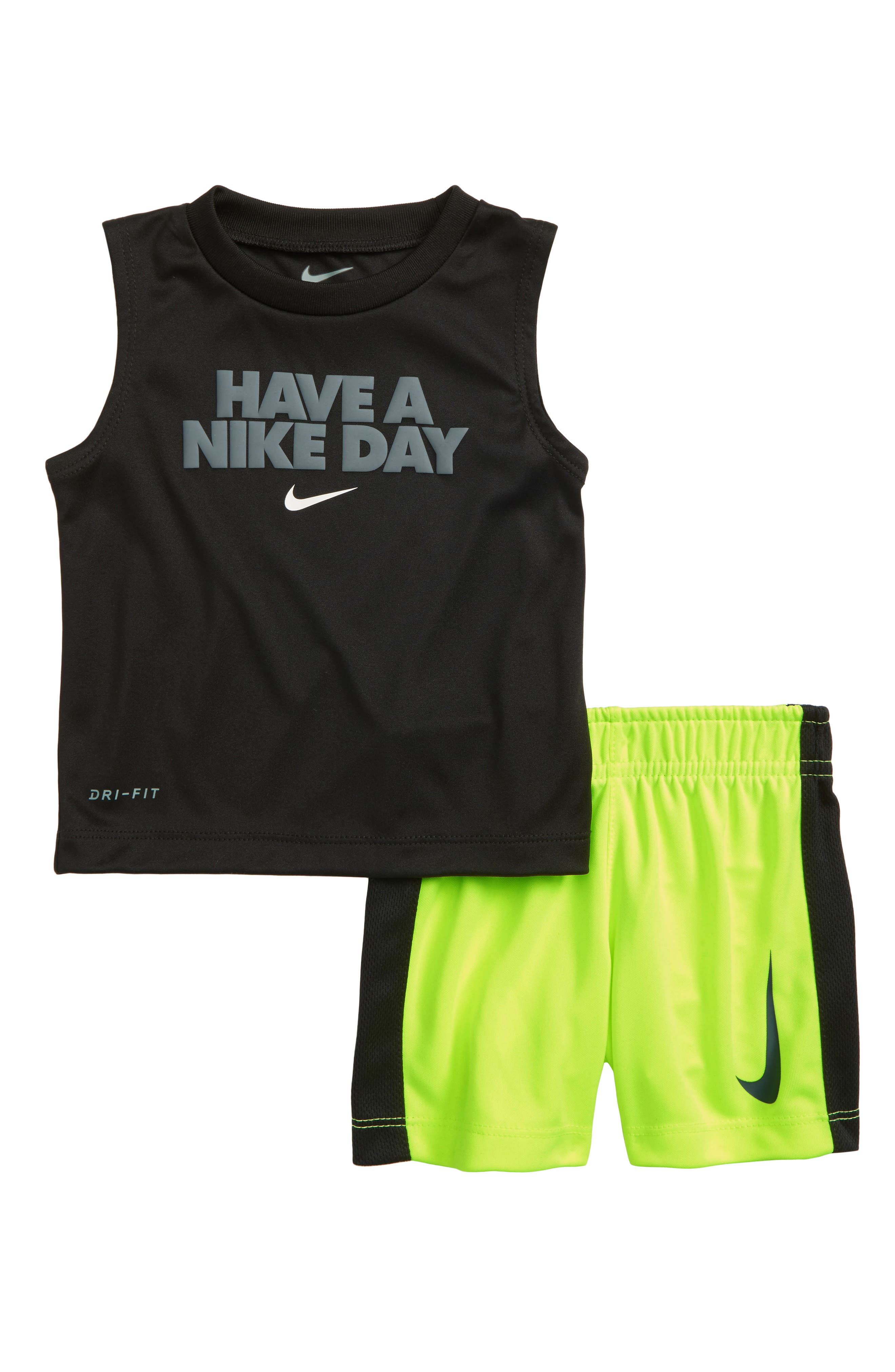 Dry Have A Nike Day Shirt & Shorts Set,                         Main,                         color, Volt
