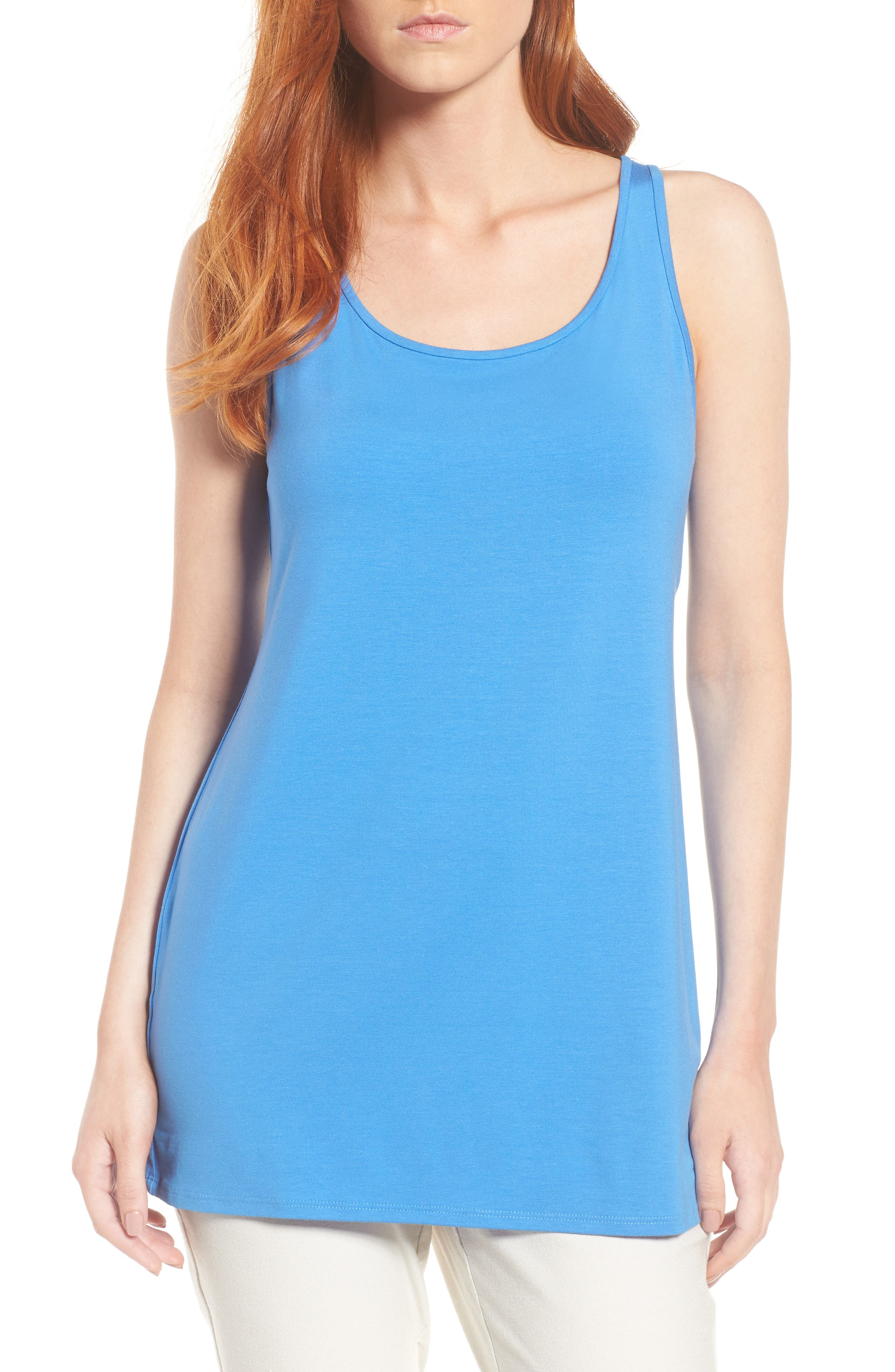 Jersey Scoop Neck Long Tank,                         Main,                         color, Blue Bell