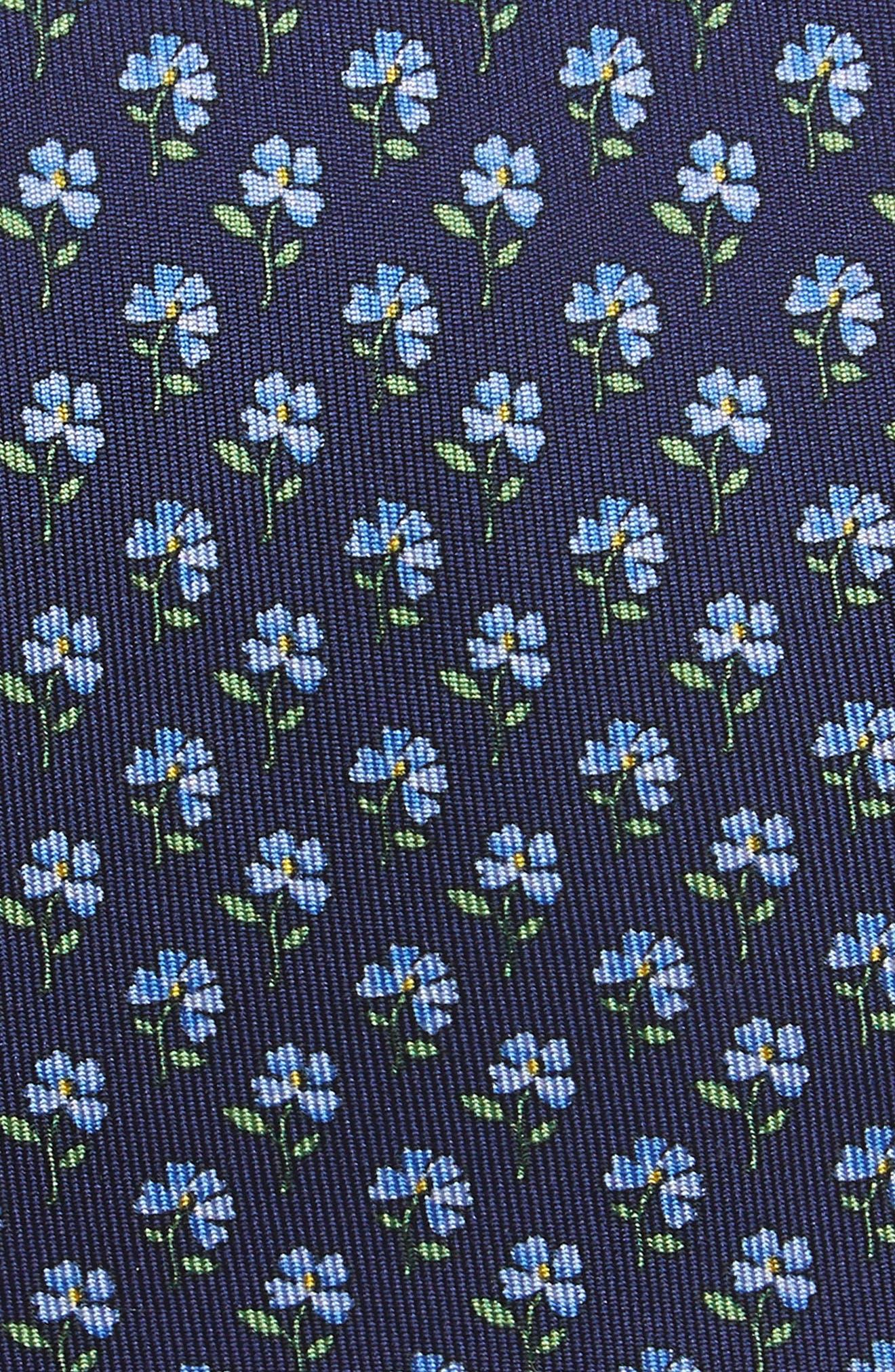 Floral Depths Print Silk Tie,                             Alternate thumbnail 2, color,                             Blue Depths