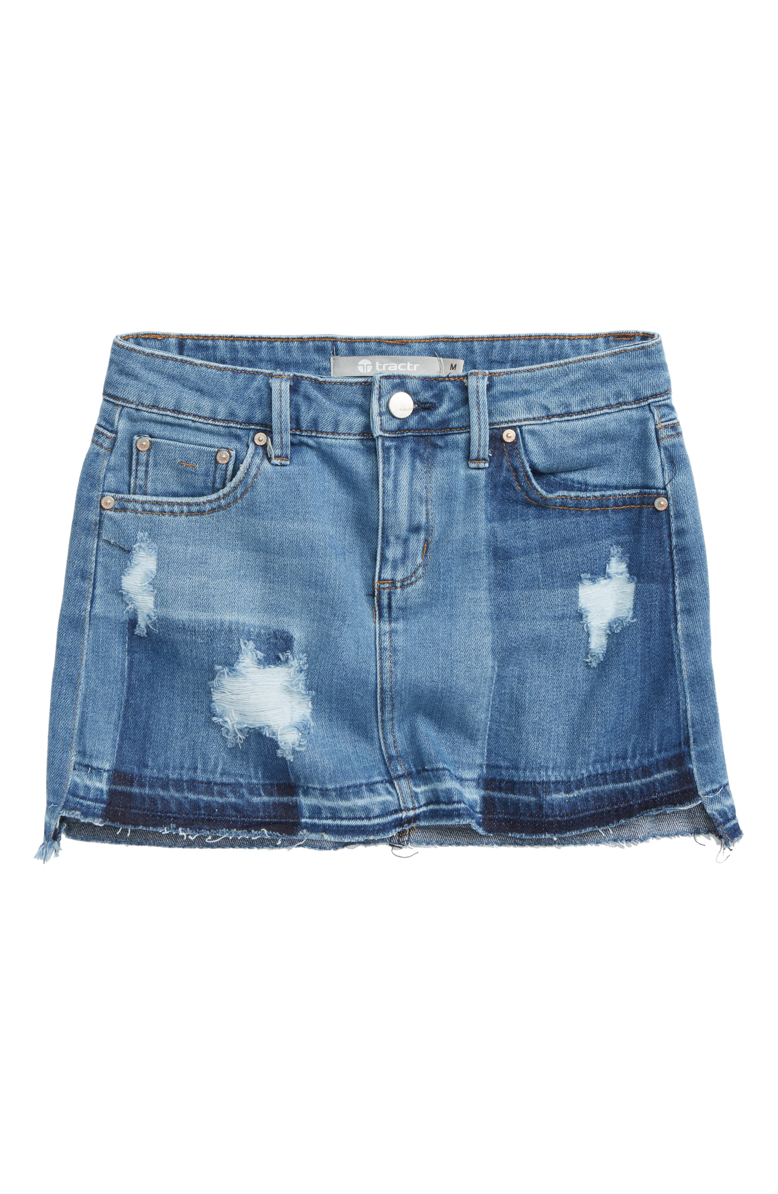Tractr Destructed Frayed Hem Skirt (Big Girls)