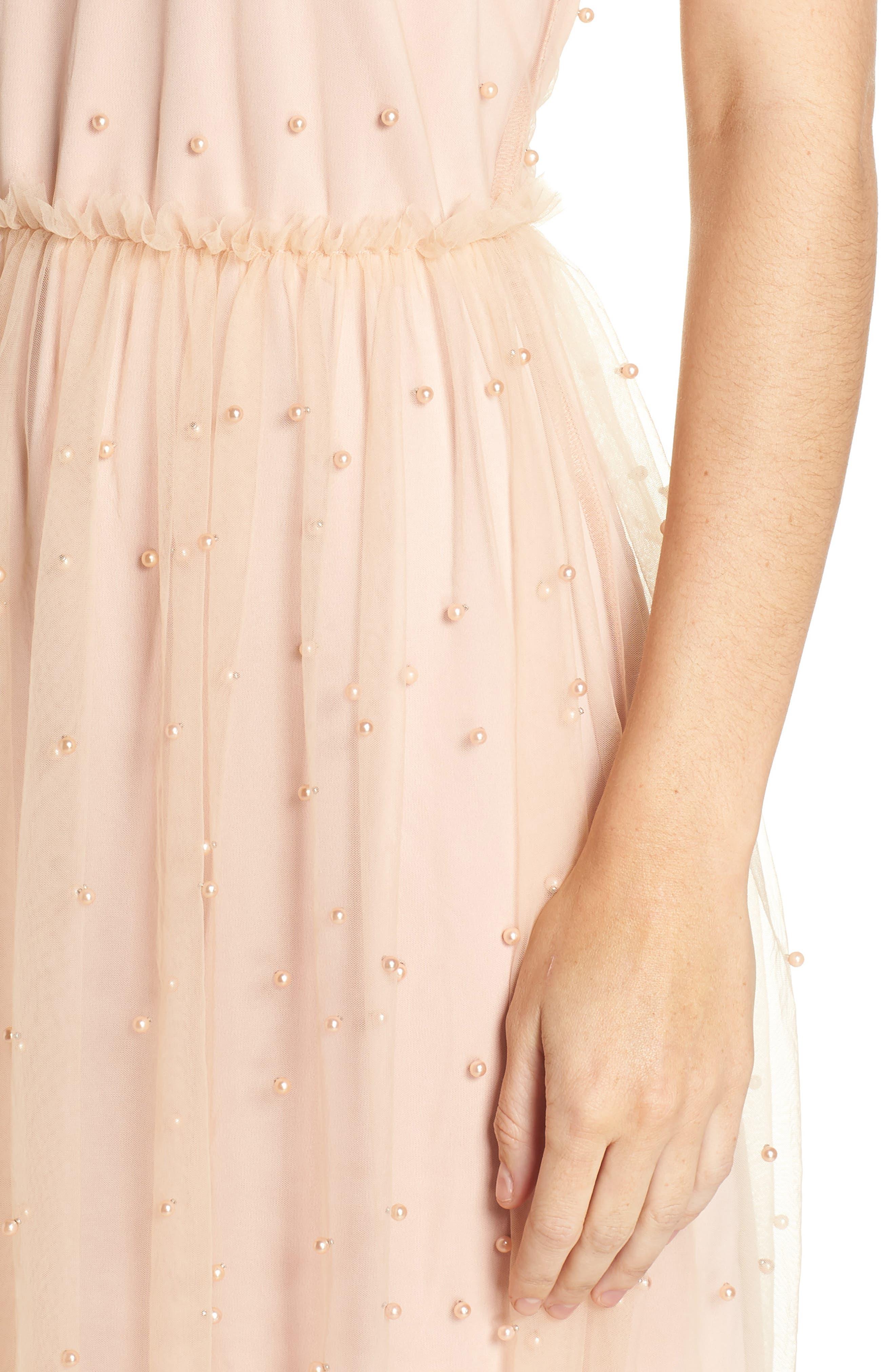 Imitation Pearl & Tulle Dress,                             Alternate thumbnail 4, color,                             Blush