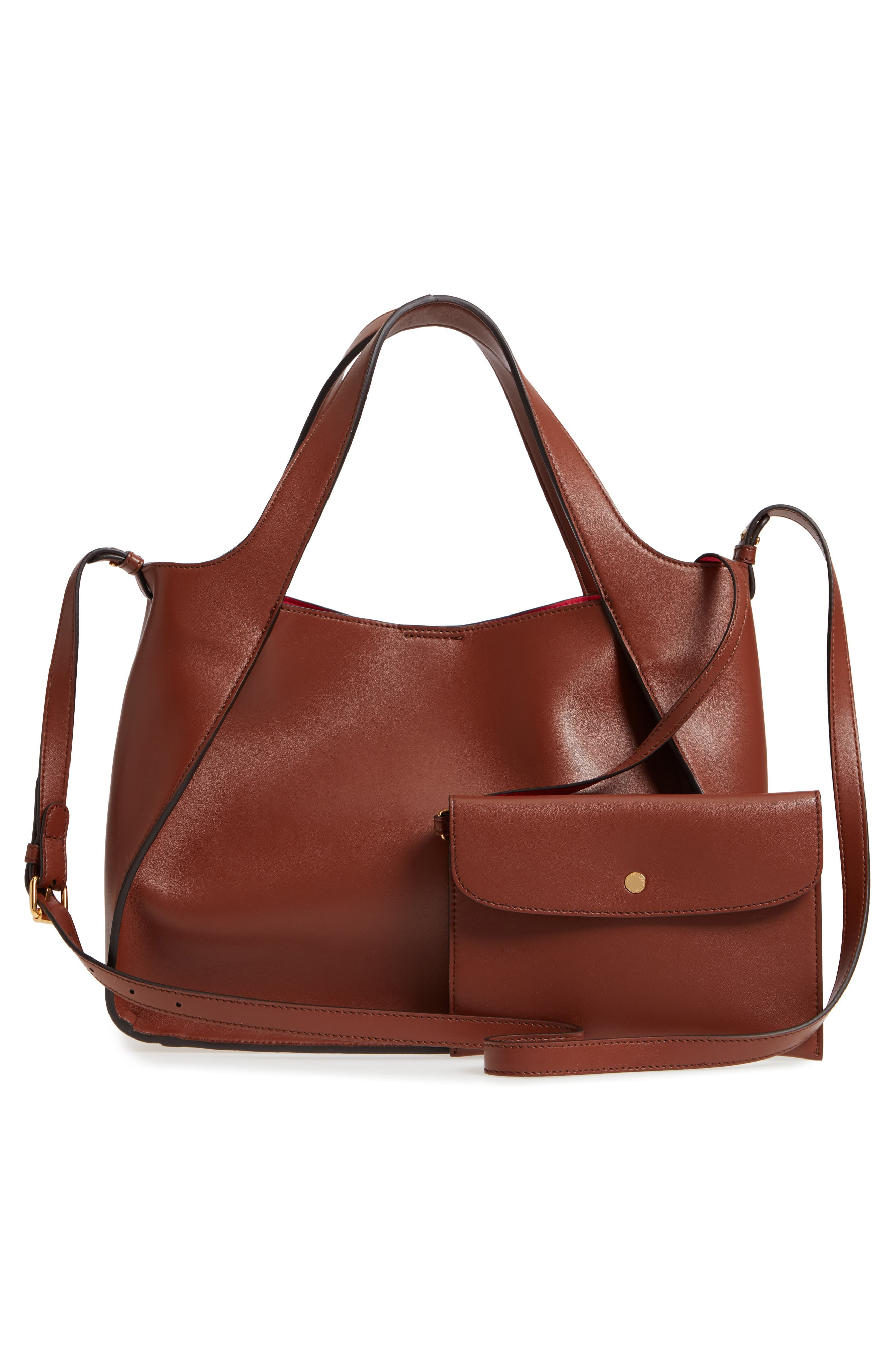 Perforated Logo Faux Leather Satchel,                             Alternate thumbnail 3, color,                             Pecan