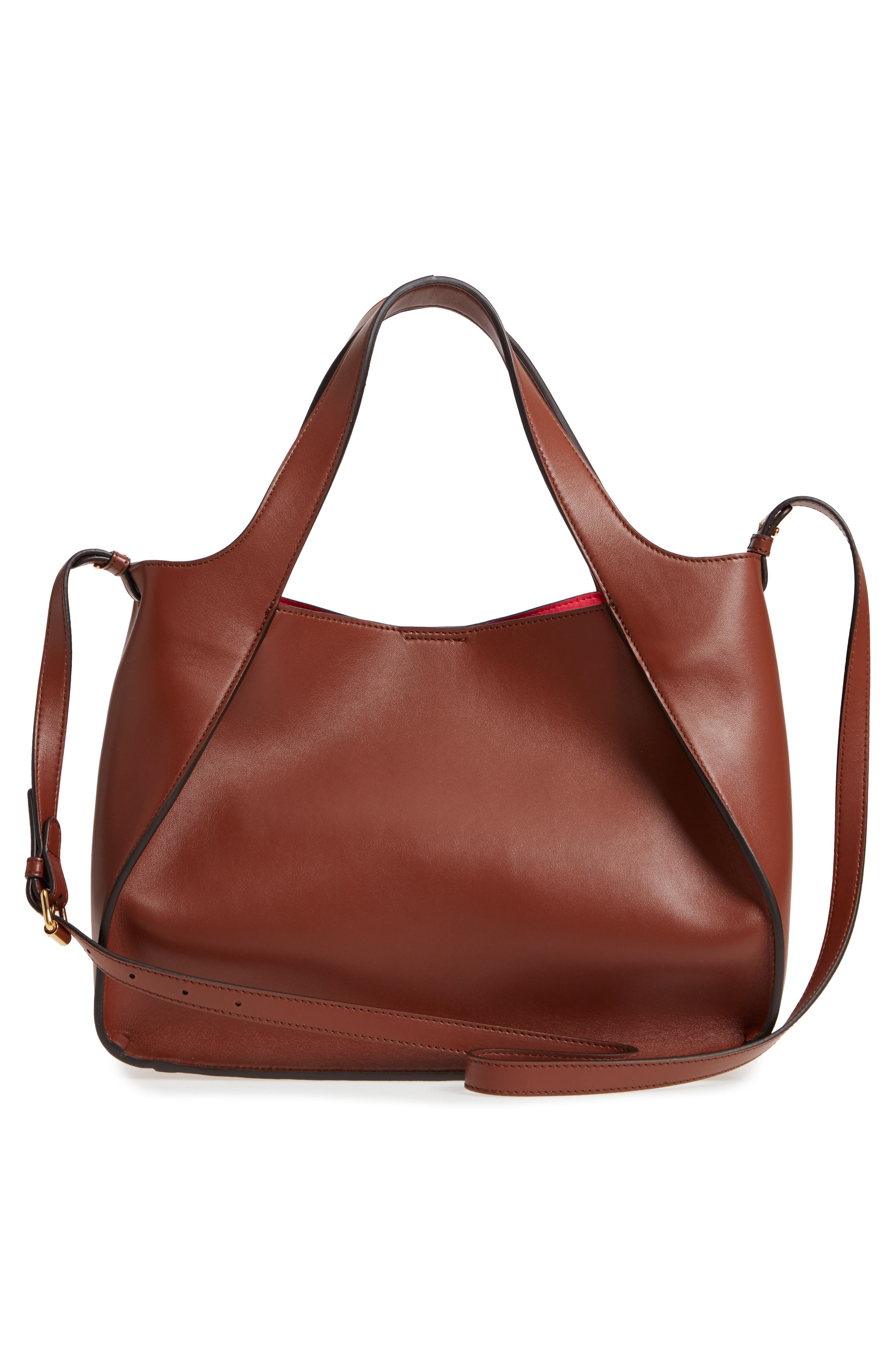Perforated Logo Faux Leather Satchel,                             Alternate thumbnail 6, color,                             Pecan