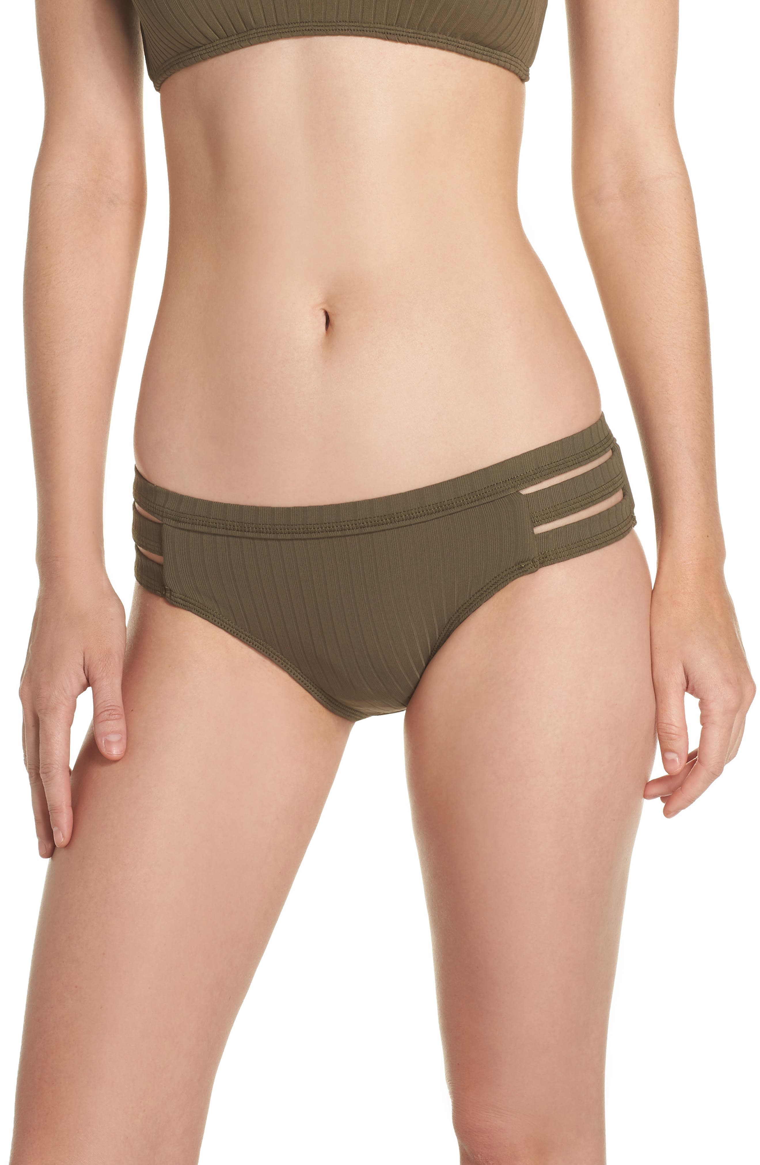 Inka Ribbed Hipster Bikini Bottoms,                         Main,                         color, Dark Olive