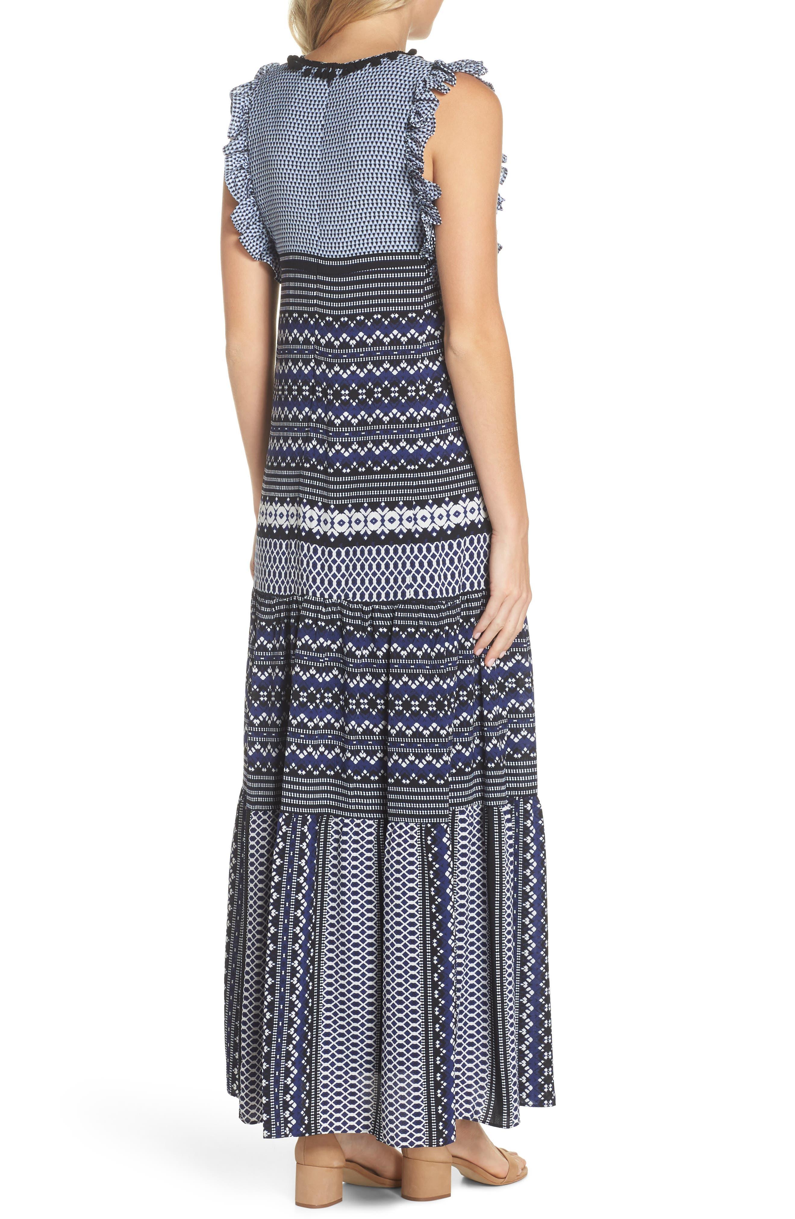 Mixed Print Ruffle Maxi Dress,                             Alternate thumbnail 2, color,                             Navy Black