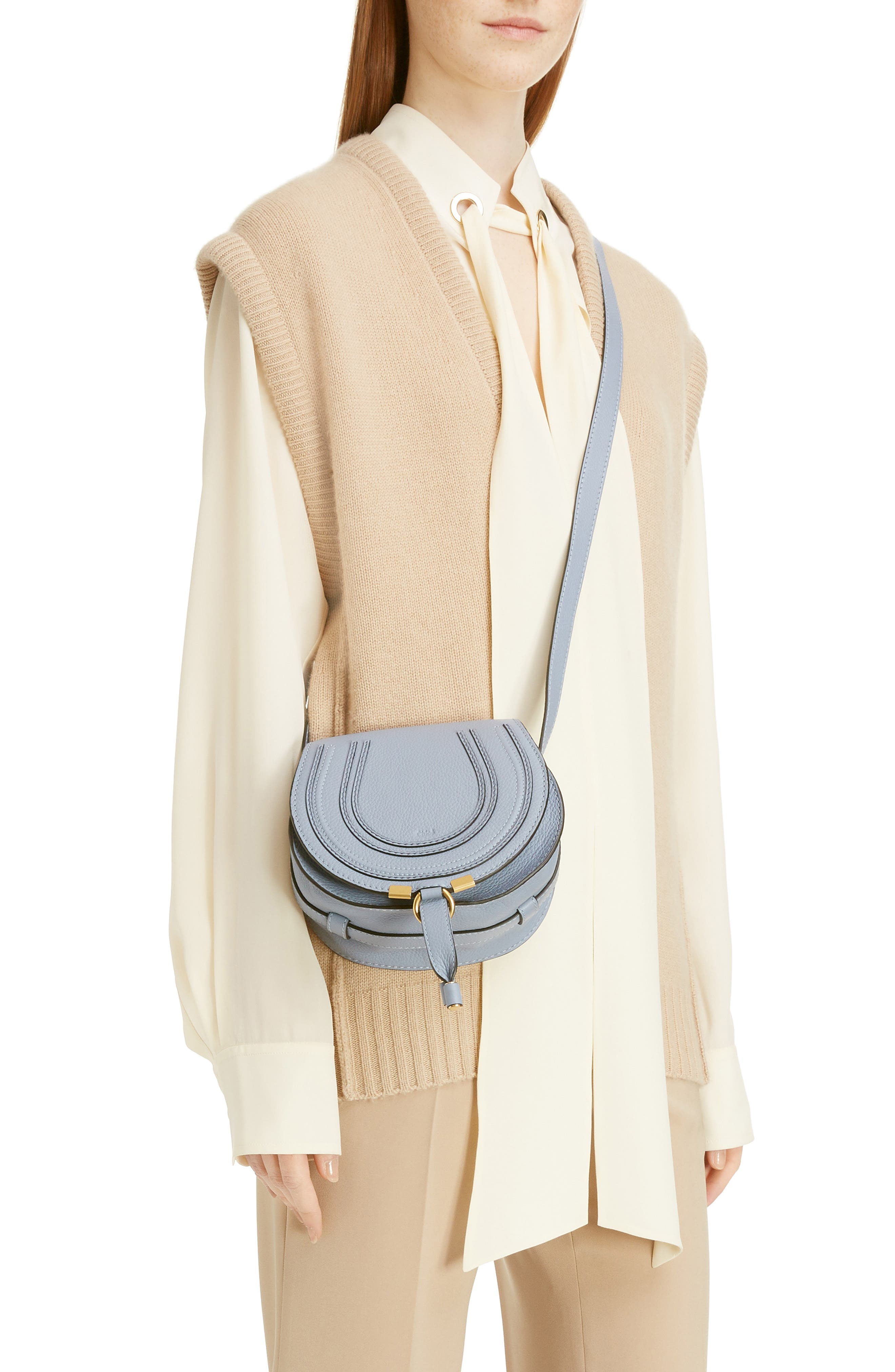 'Mini Marcie' Leather Crossbody Bag,                             Alternate thumbnail 2, color,                             Washed Blue