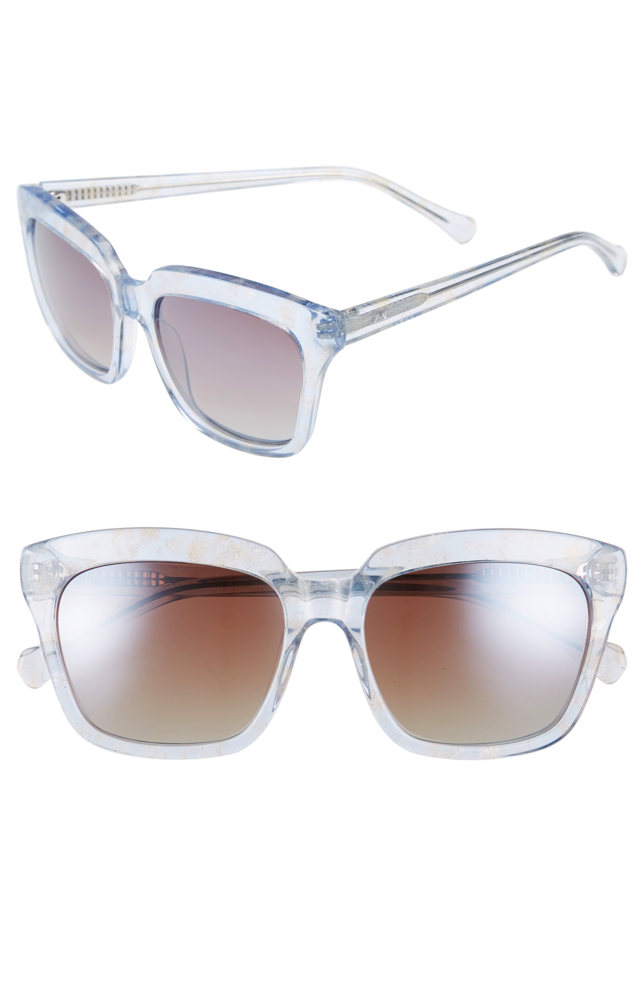 Adina 56mm Polarized Sunglasses,                         Main,                         color, Blue Polar/ Greige