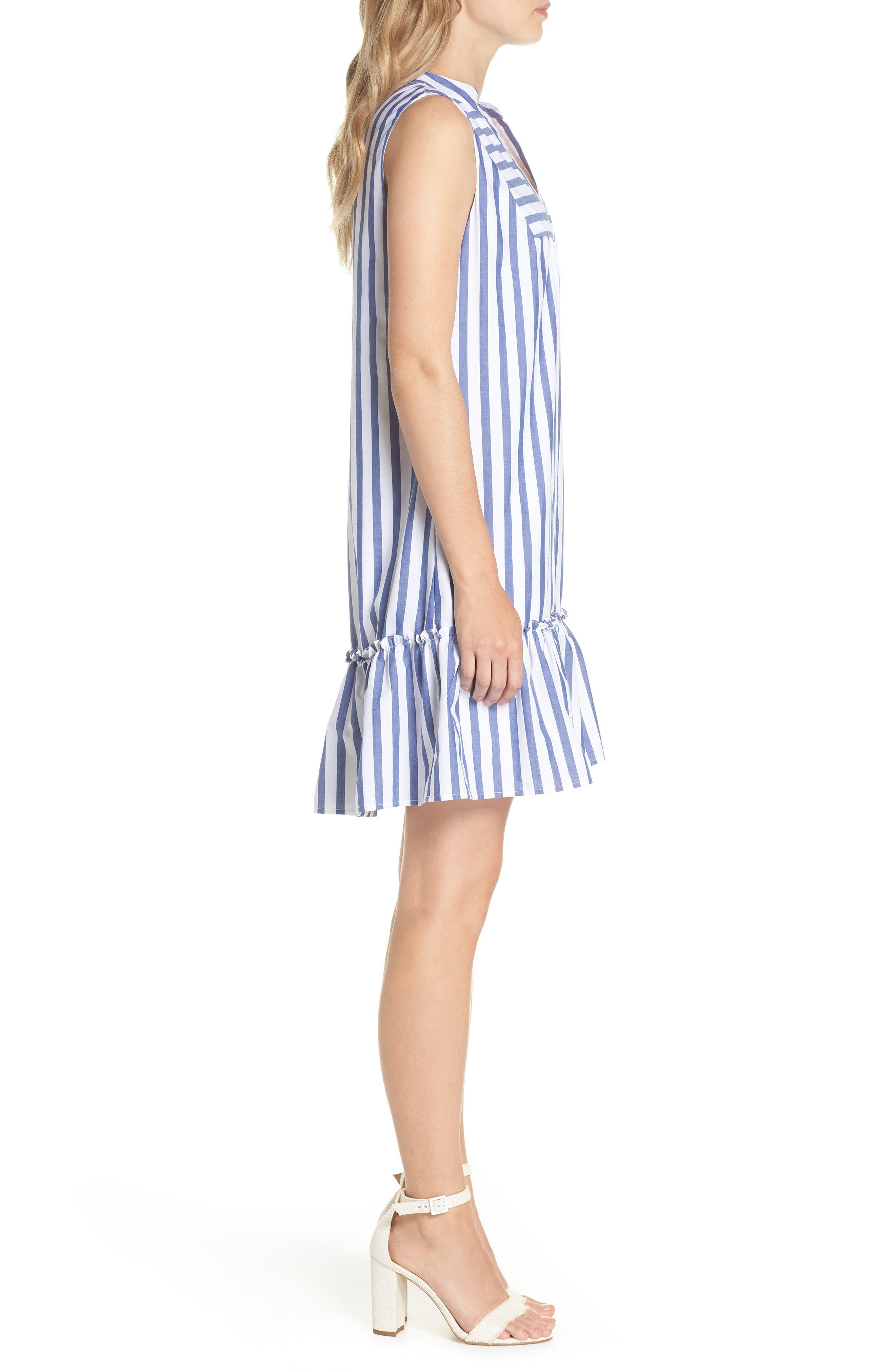 Stripe Bib Front Sleeveless Shift Dress,                             Alternate thumbnail 3, color,                             Ivory/ Blue Stripe