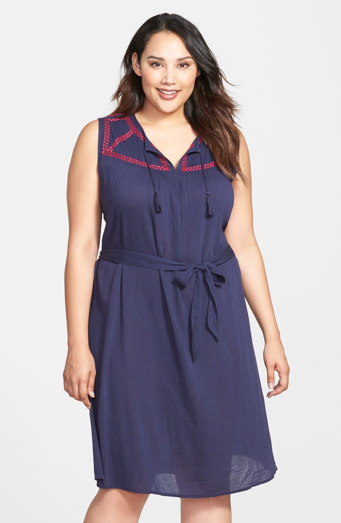 Main Image - Caslon® Embroidered Yoke Sleeveless Shift Dress (Plus Size)