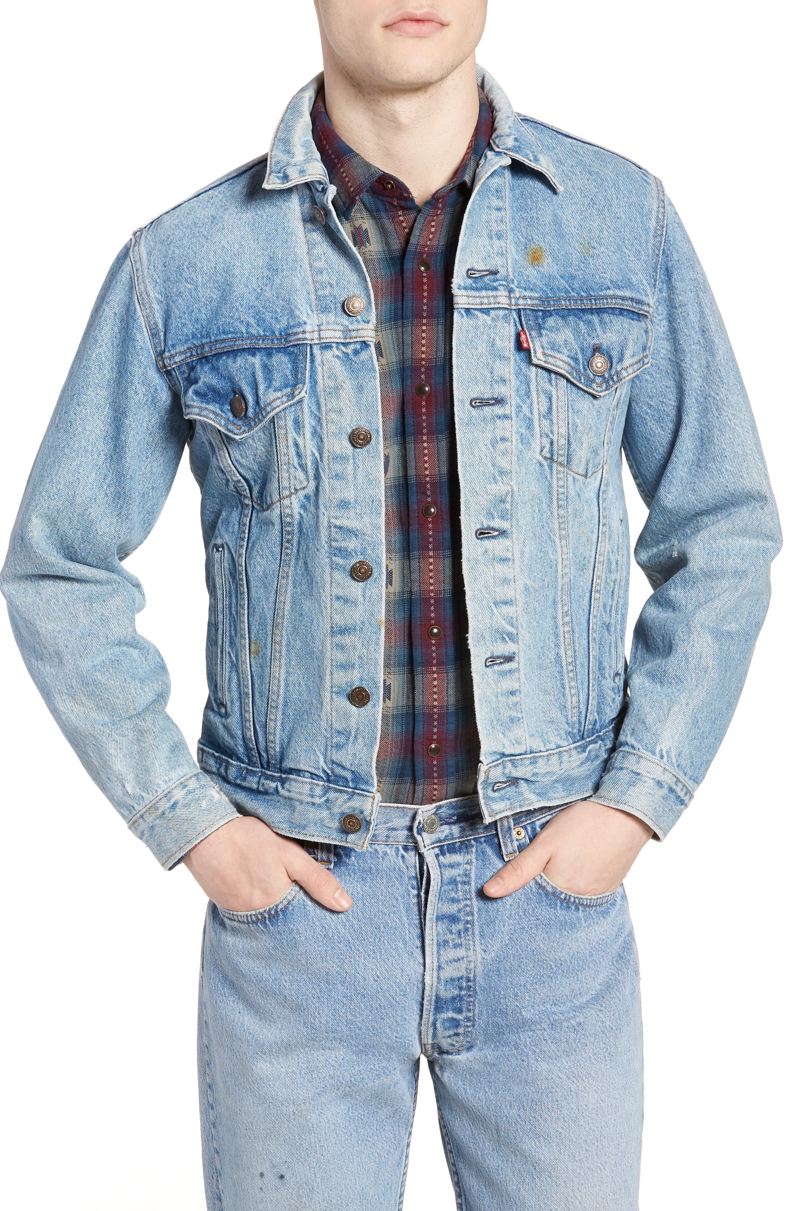 Authorized Vintage Trucker Jacket,                         Main,                         color, Av Blue
