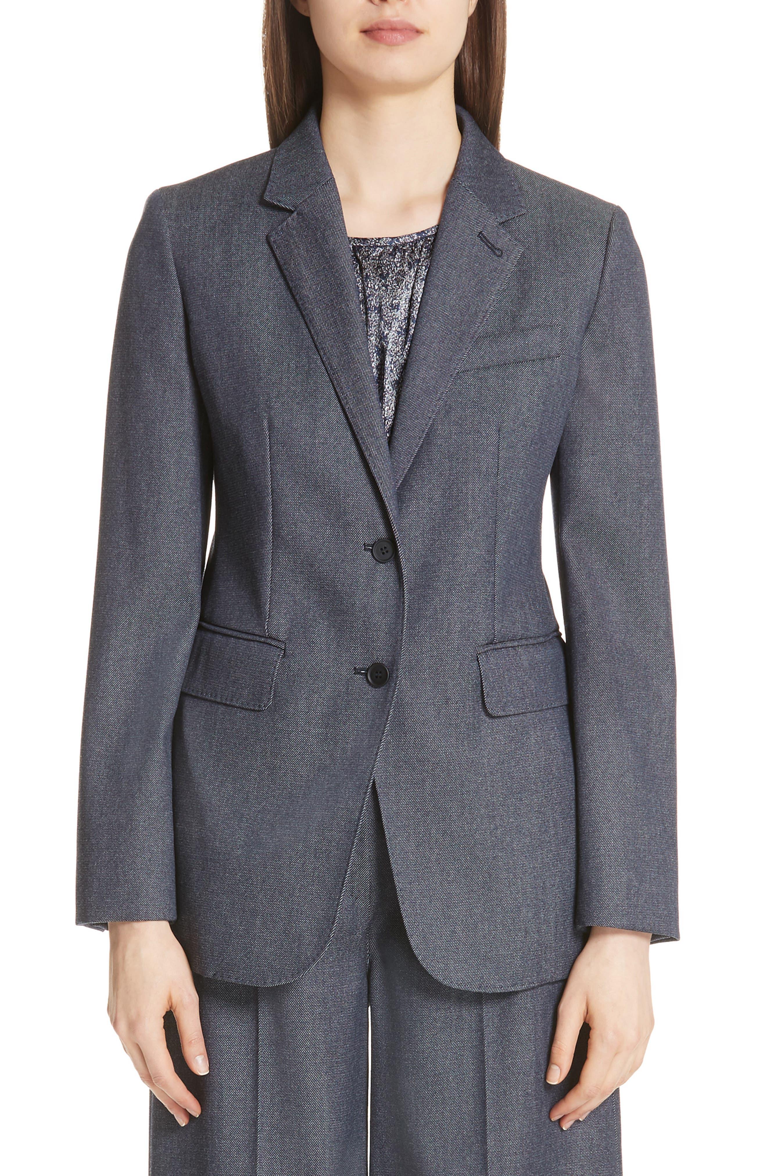Ermesa Single-Breasted Wool Jacket in Blue