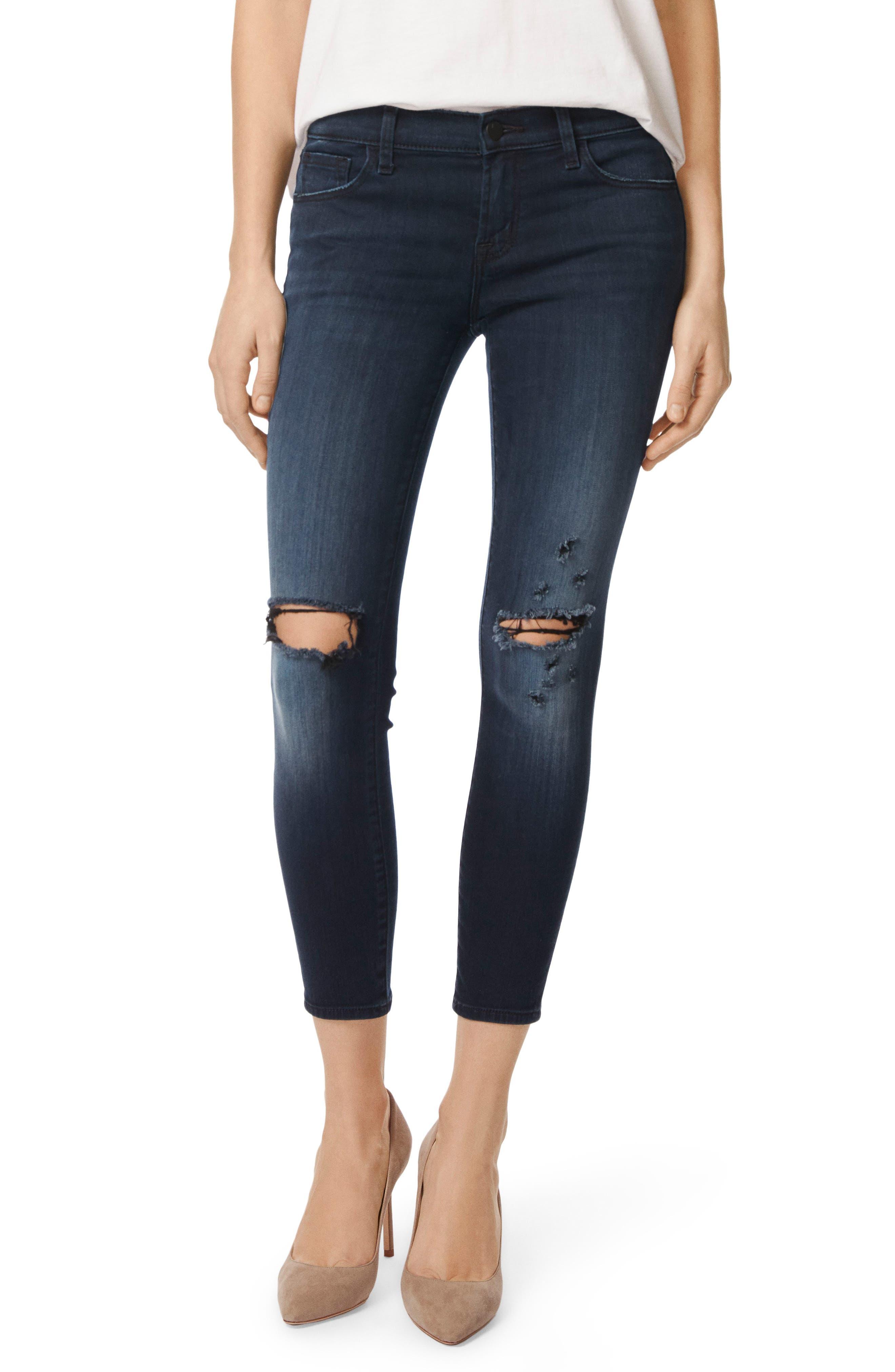 9326 Low Rise Crop Skinny Jeans,                             Main thumbnail 1, color,                             Black Sea