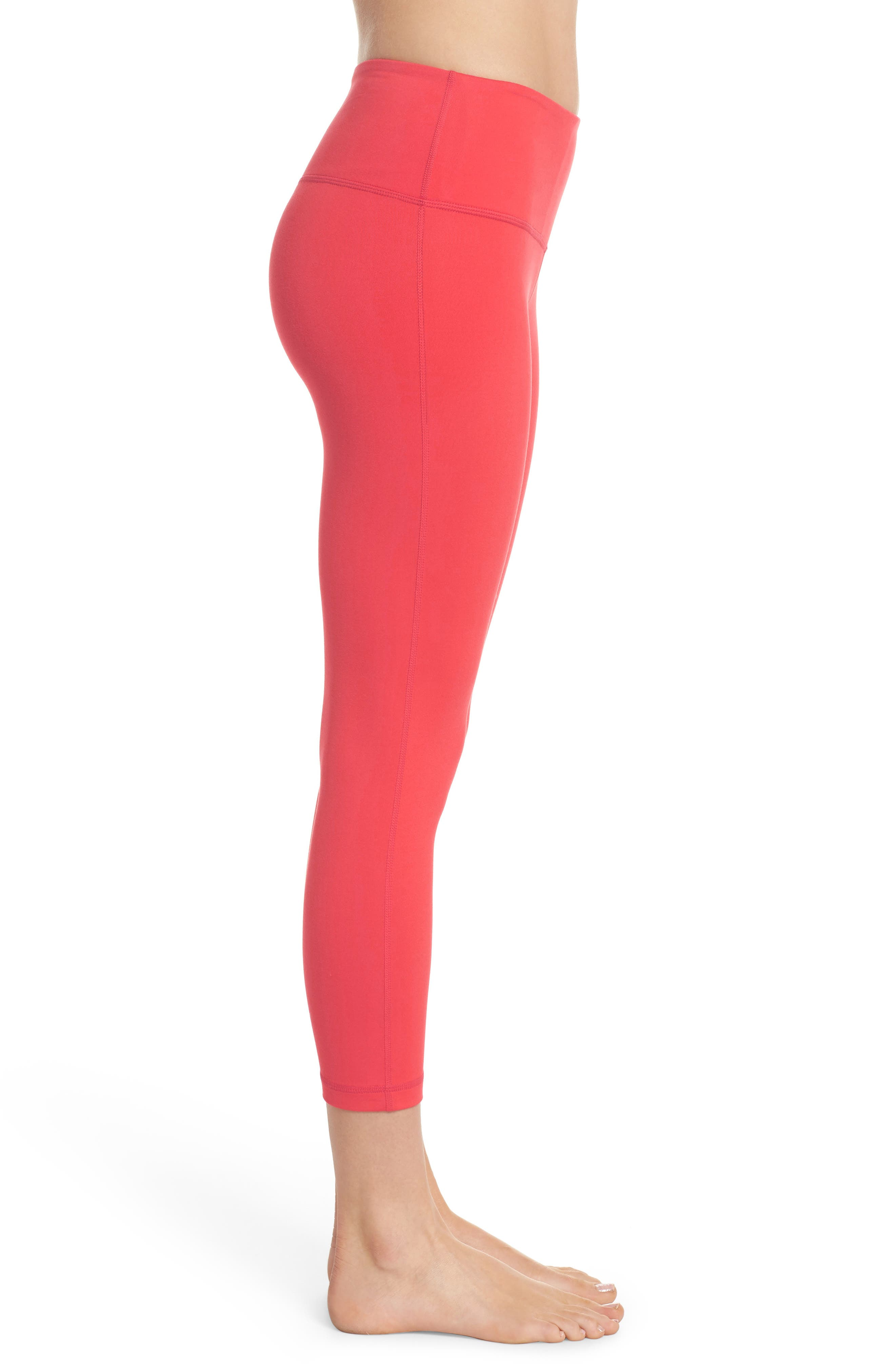 Live In Lite Crop Leggings,                             Alternate thumbnail 7, color,                             Red Hibiscus