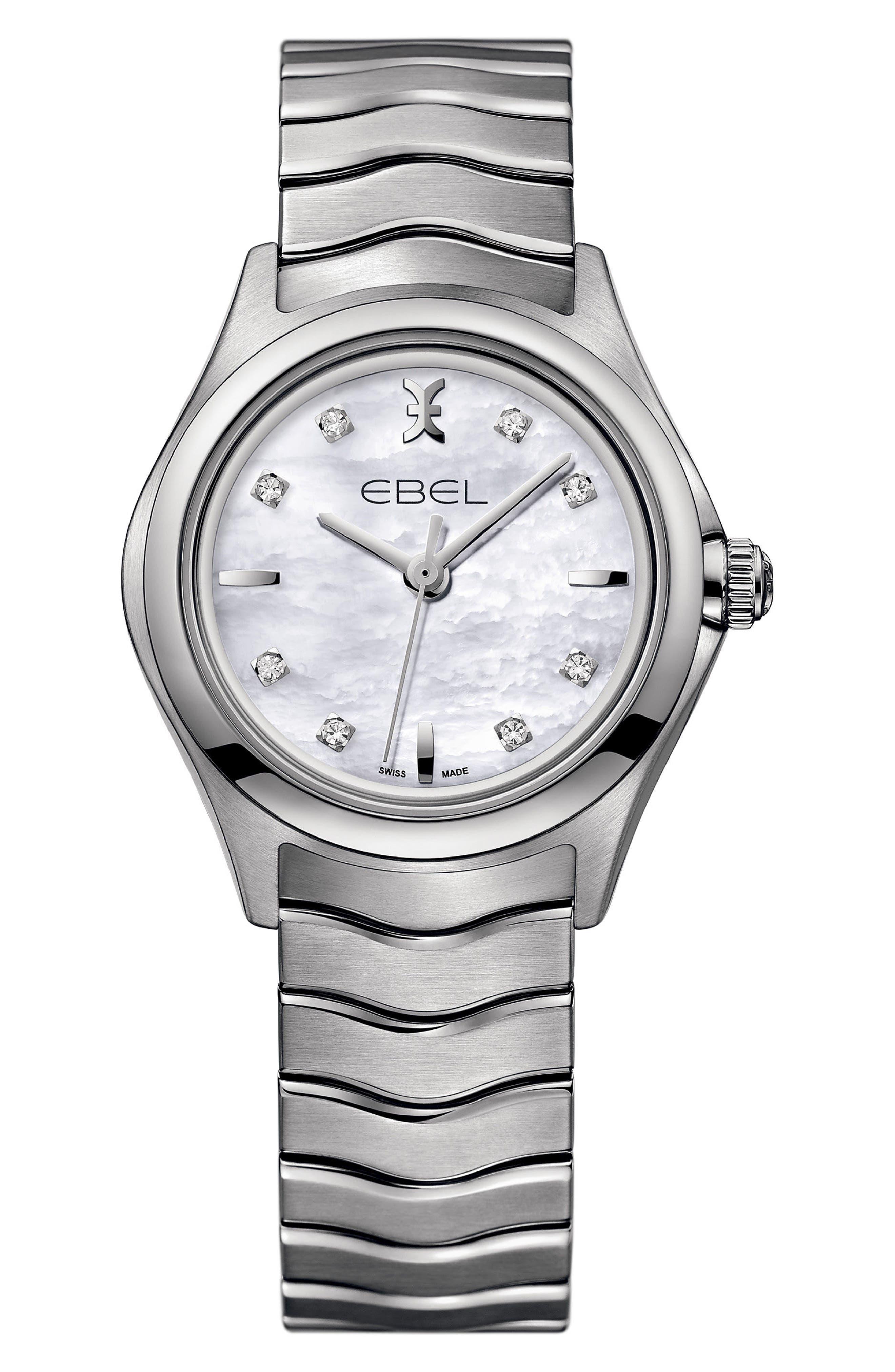 Wave Bracelet Watch, 30mm,                             Main thumbnail 1, color,                             Silver/ Mop/ Silver