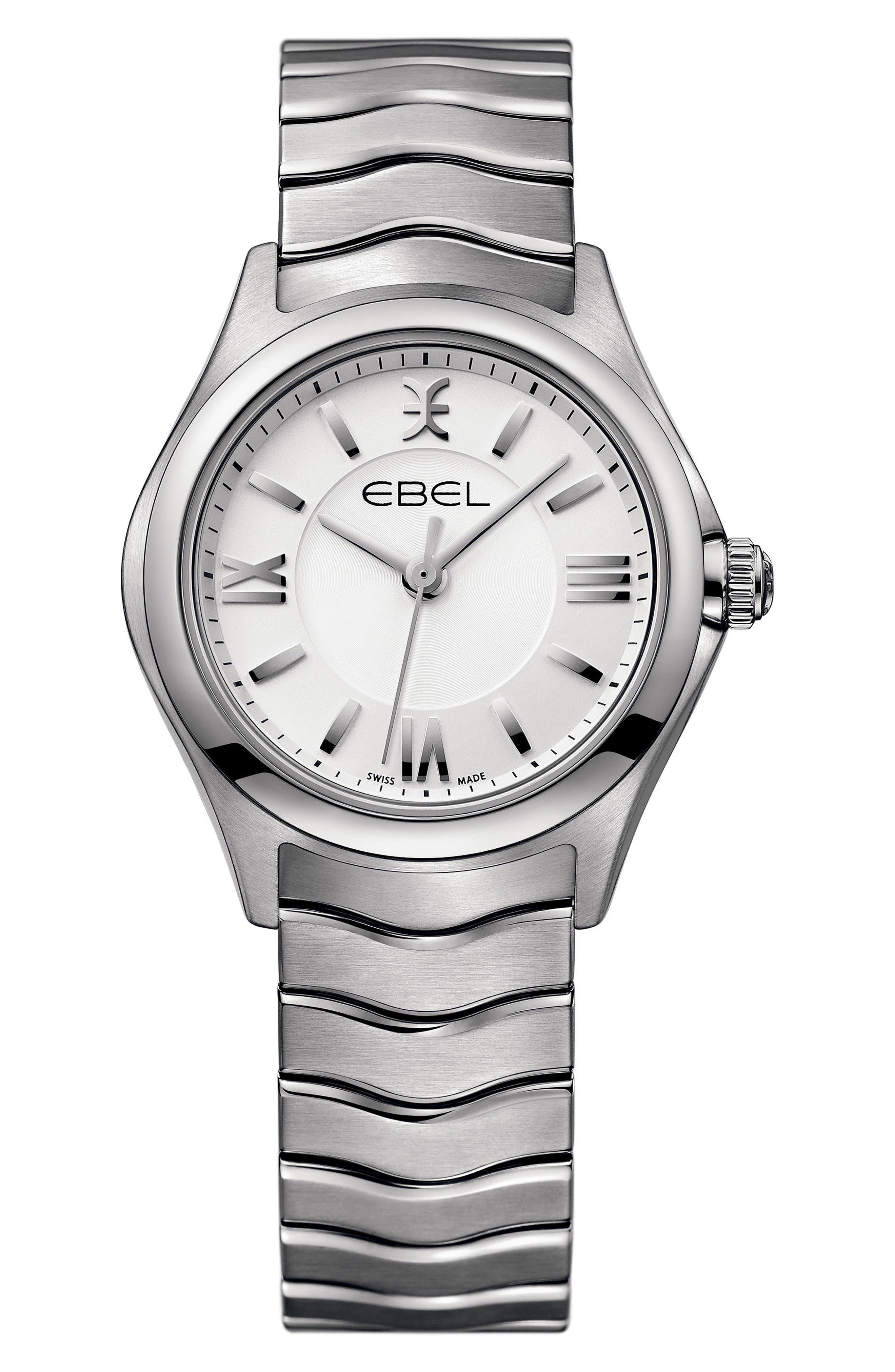 Wave Bracelet Watch, 30mm,                             Main thumbnail 1, color,                             Silver