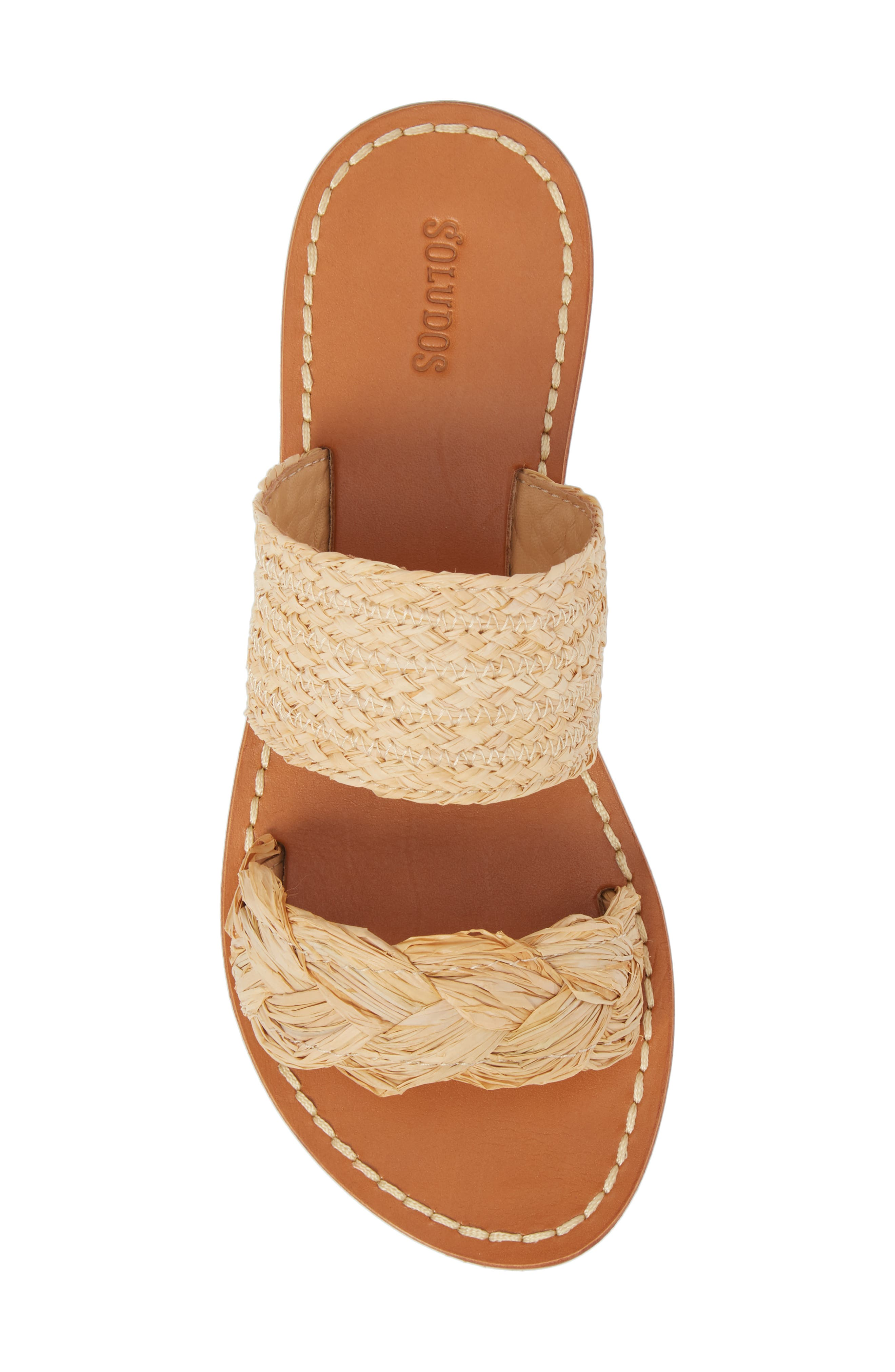 Braided Slide Sandal,                             Alternate thumbnail 5, color,                             Natural Leather