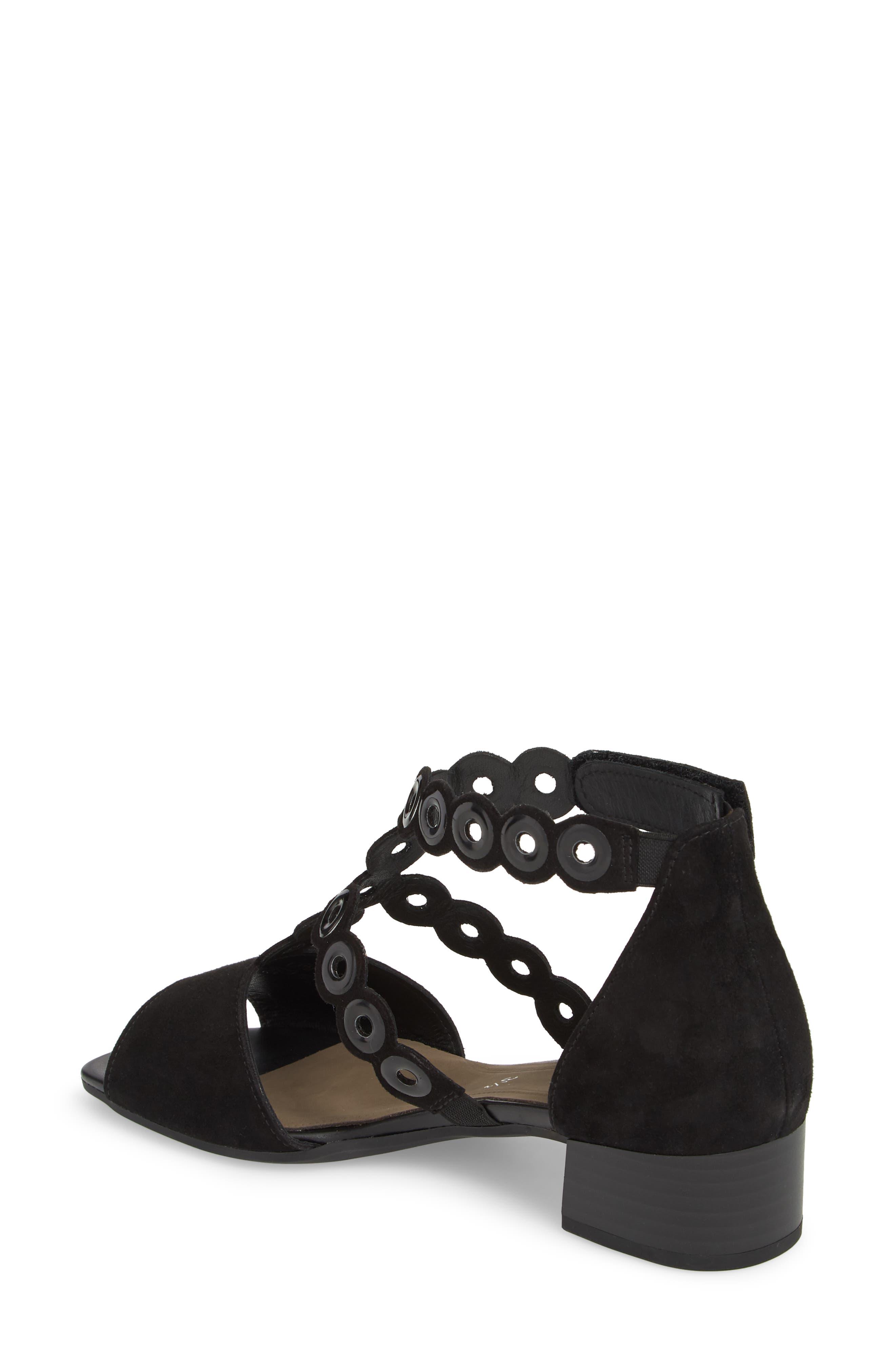 T-Strap Sandal,                             Alternate thumbnail 2, color,                             Black Suede