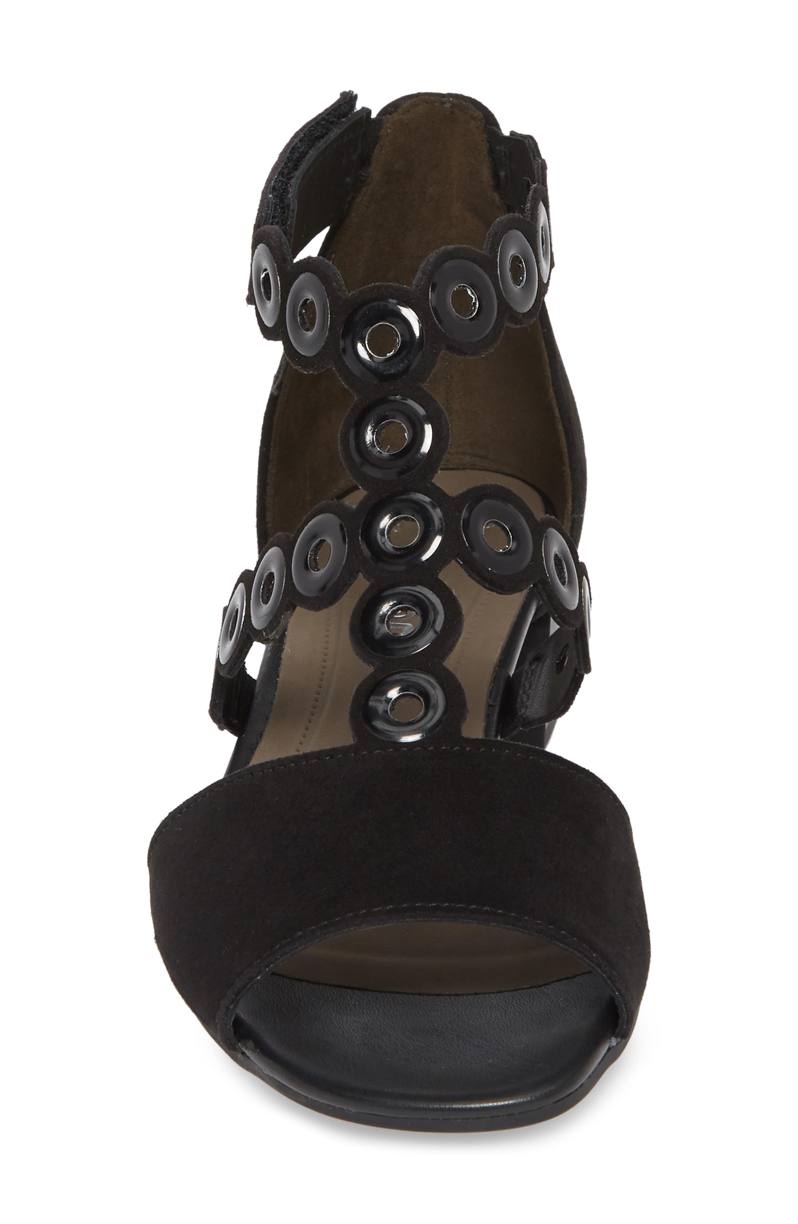T-Strap Sandal,                             Alternate thumbnail 4, color,                             Black Suede