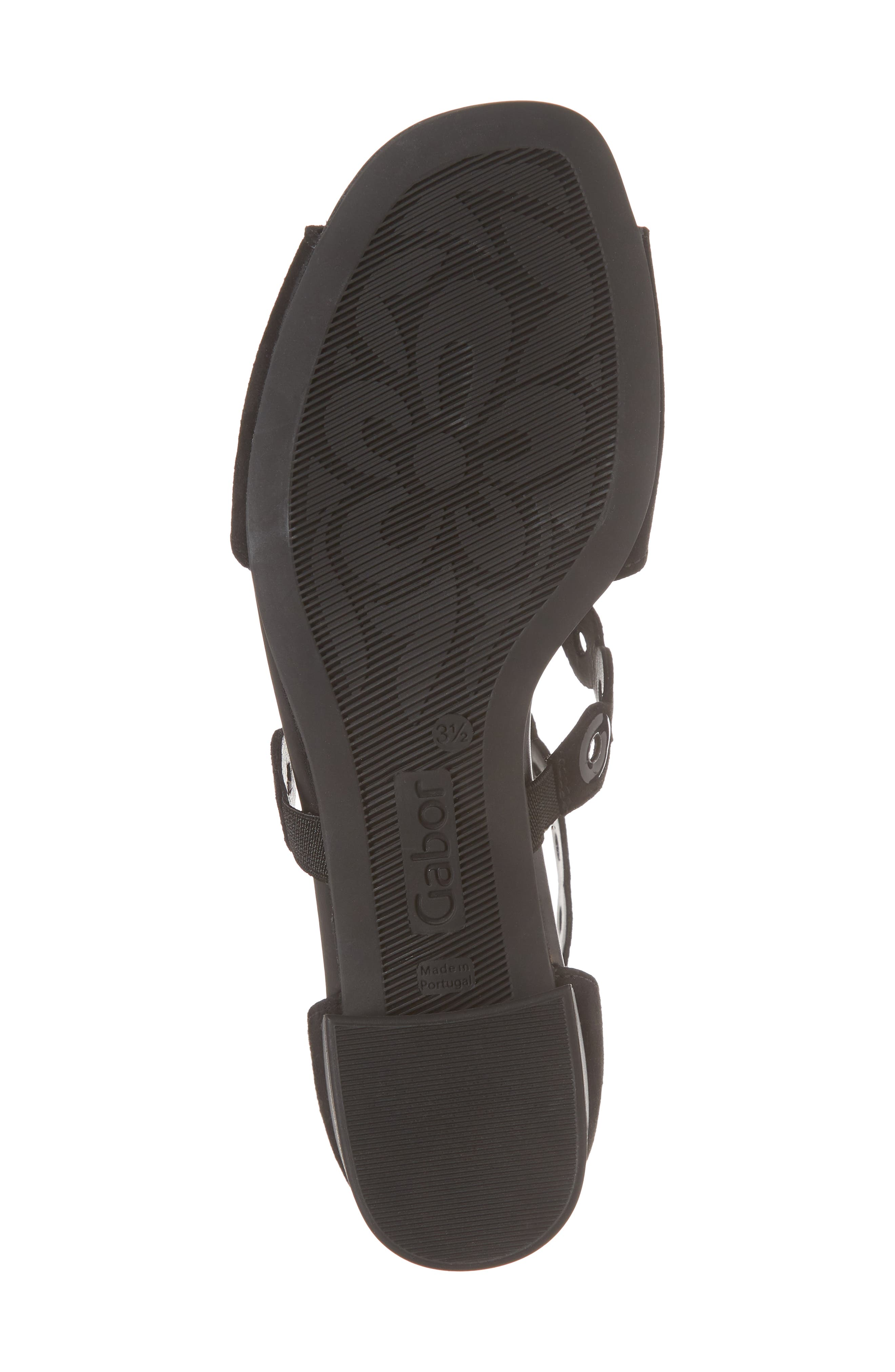 T-Strap Sandal,                             Alternate thumbnail 6, color,                             Black Suede