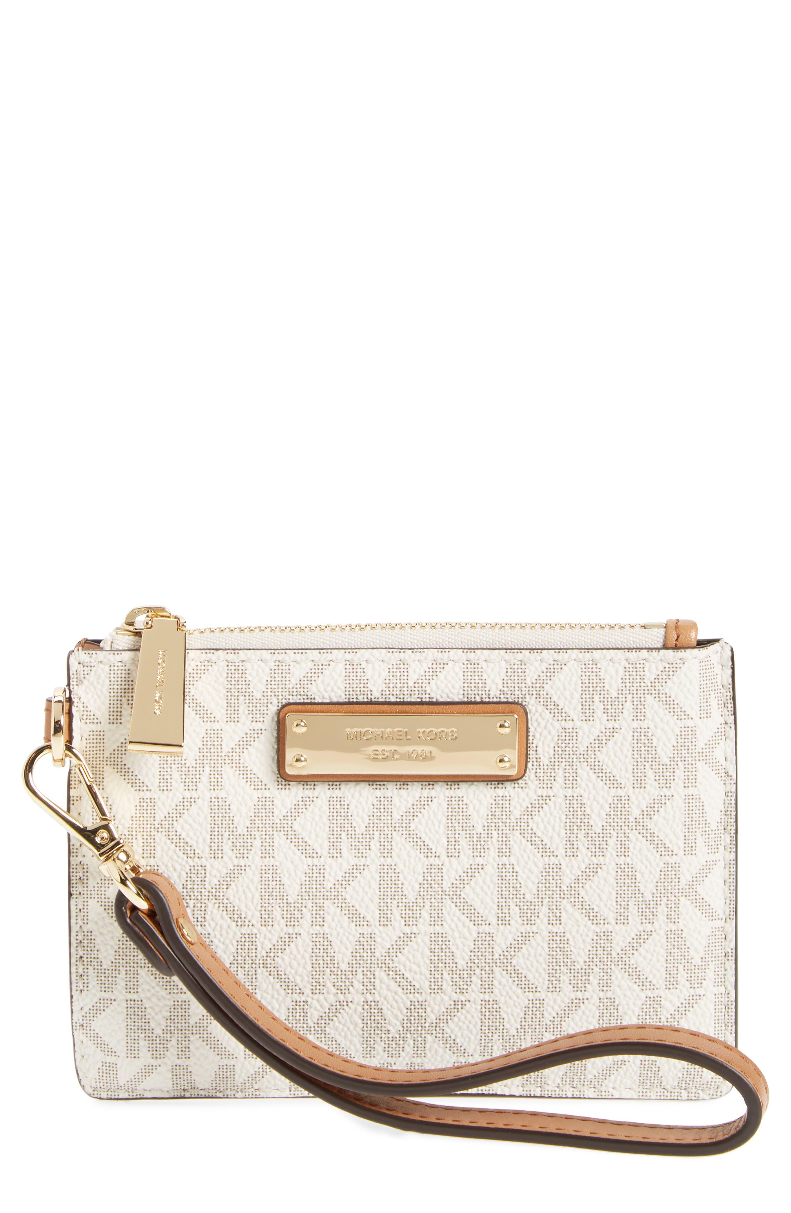 Mercer Faux Leather Zip Card Case,                             Main thumbnail 1, color,                             Vanilla