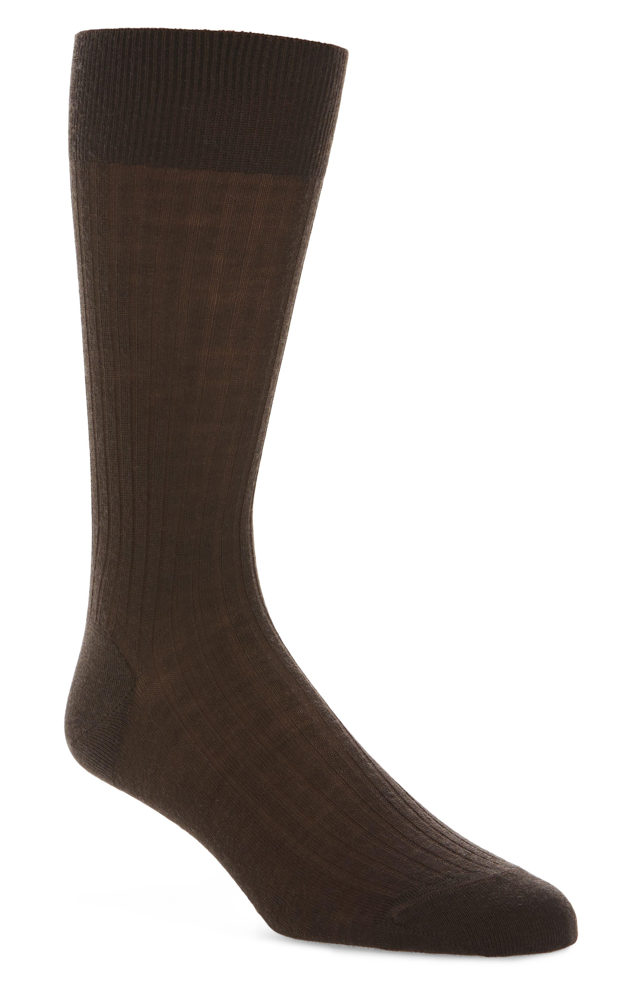 Ribbed Merino Wool Socks,                         Main,                         color, Brown Demitasse
