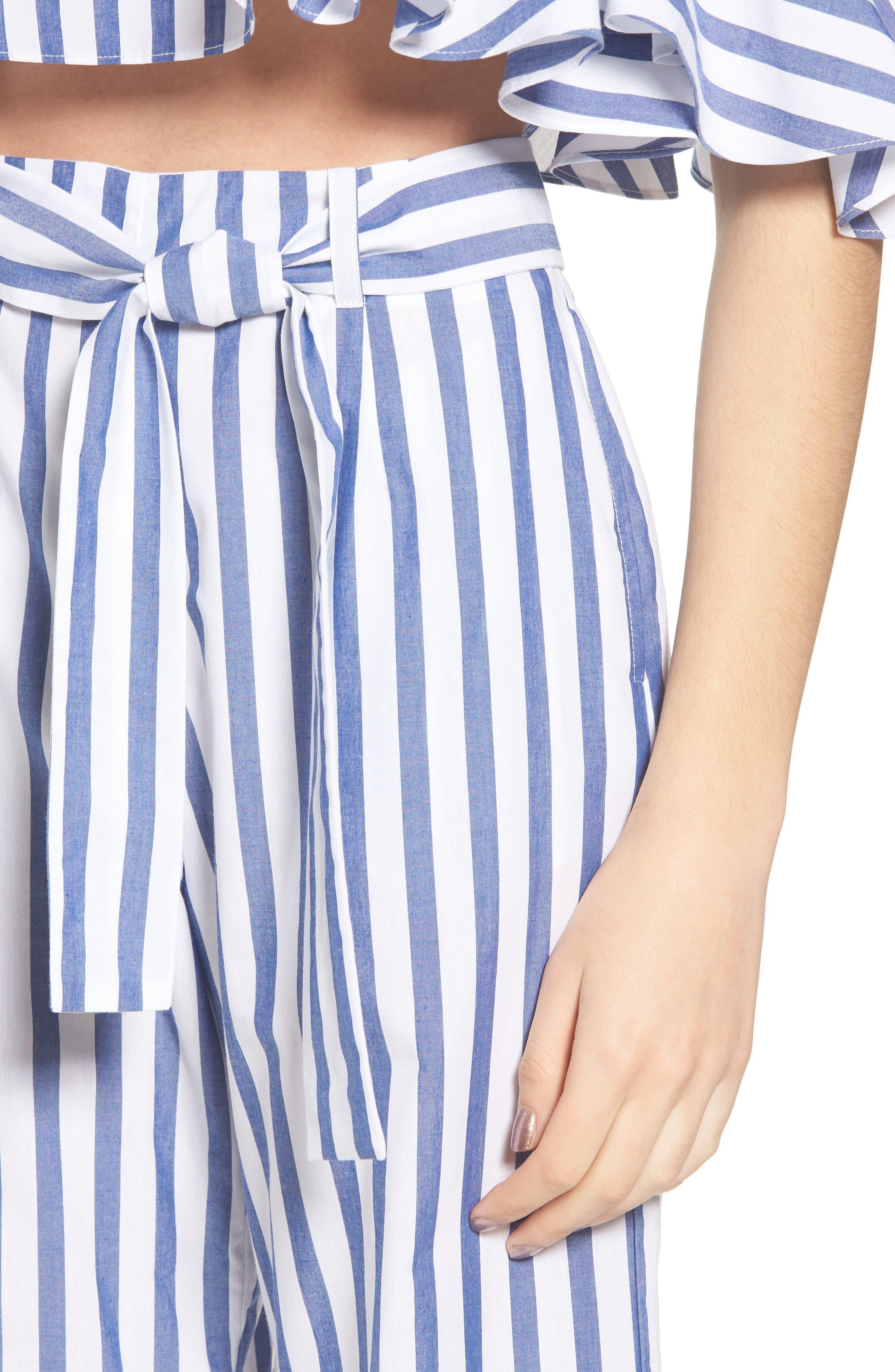 Aversa Crop Wide Leg Pants,                             Alternate thumbnail 5, color,                             Navy Stripe