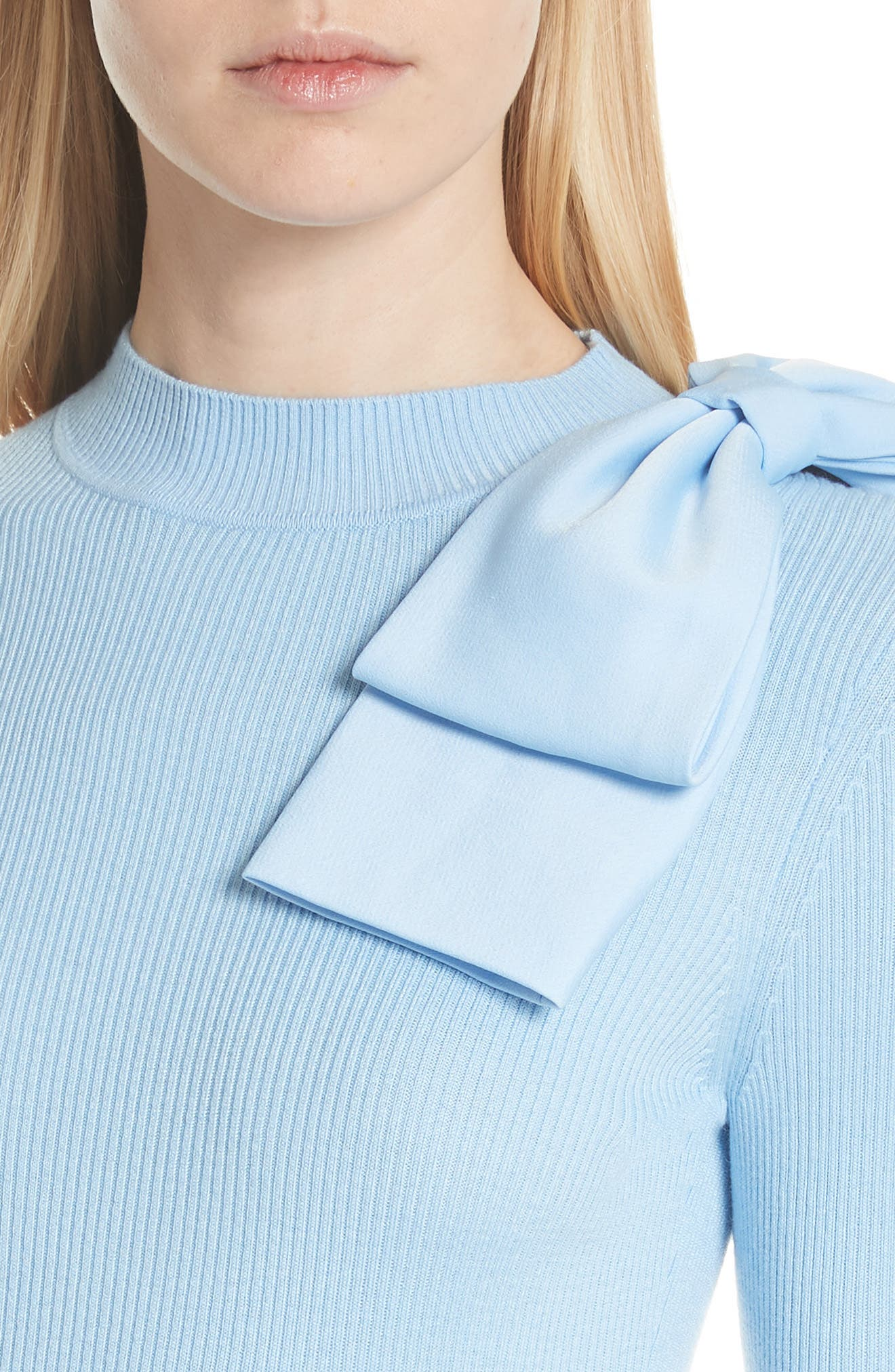 Bow Detail Ribbed Sweater,                             Alternate thumbnail 4, color,                             Pale Blue
