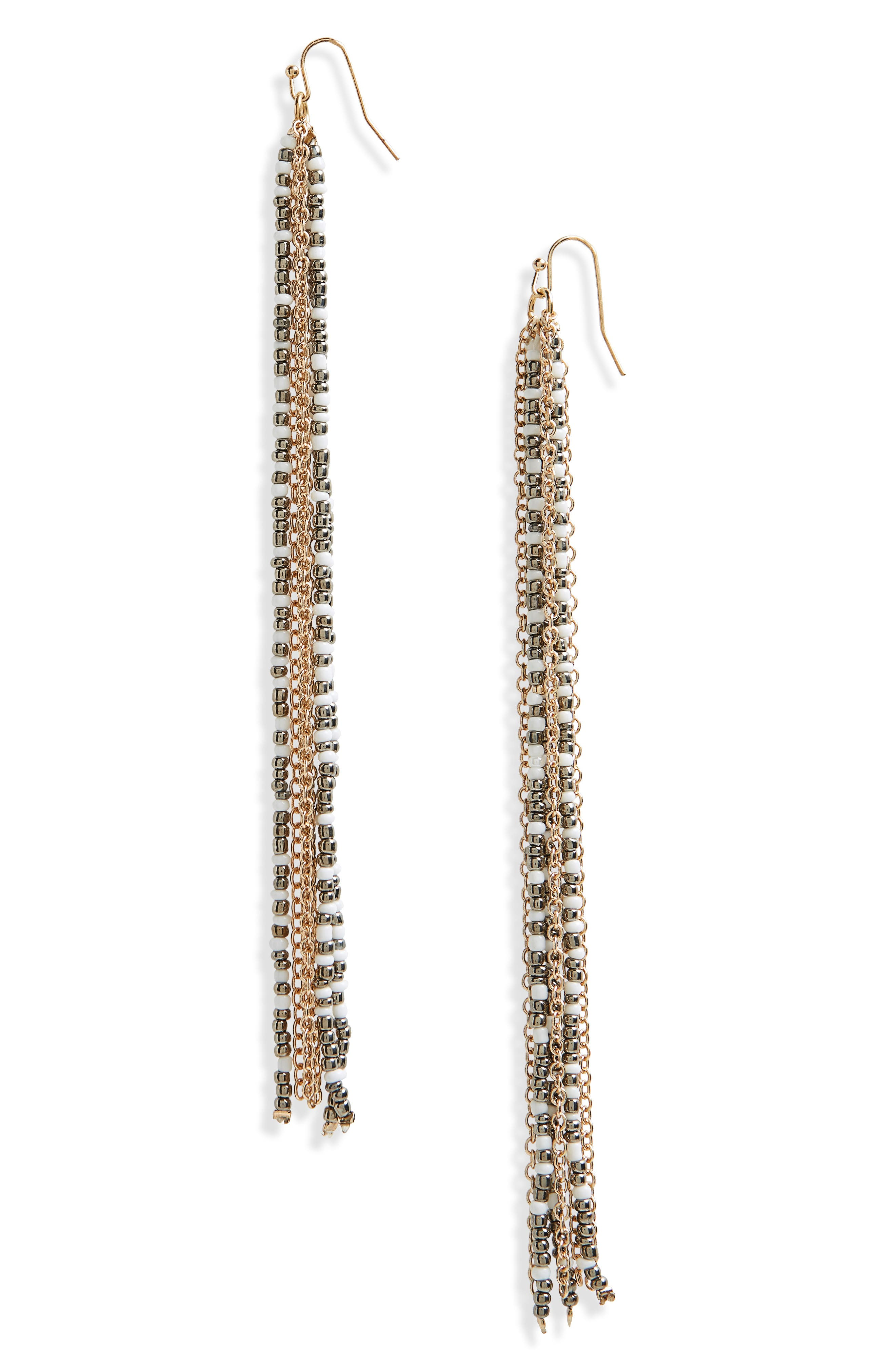 Linear Seed Bead Earrings,                         Main,                         color, White