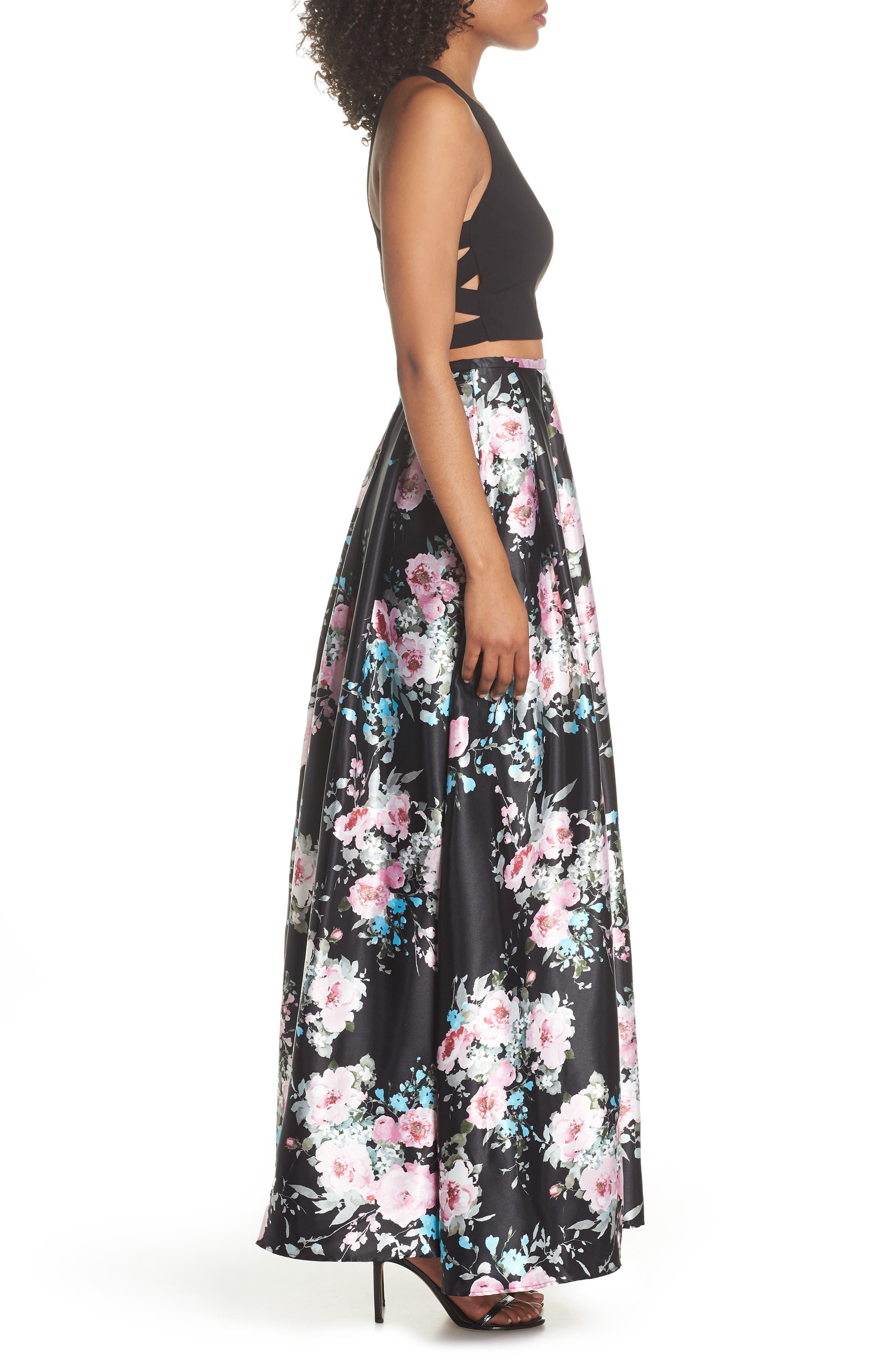 Two-Piece Ballgown,                             Alternate thumbnail 3, color,                             Black/ Floral
