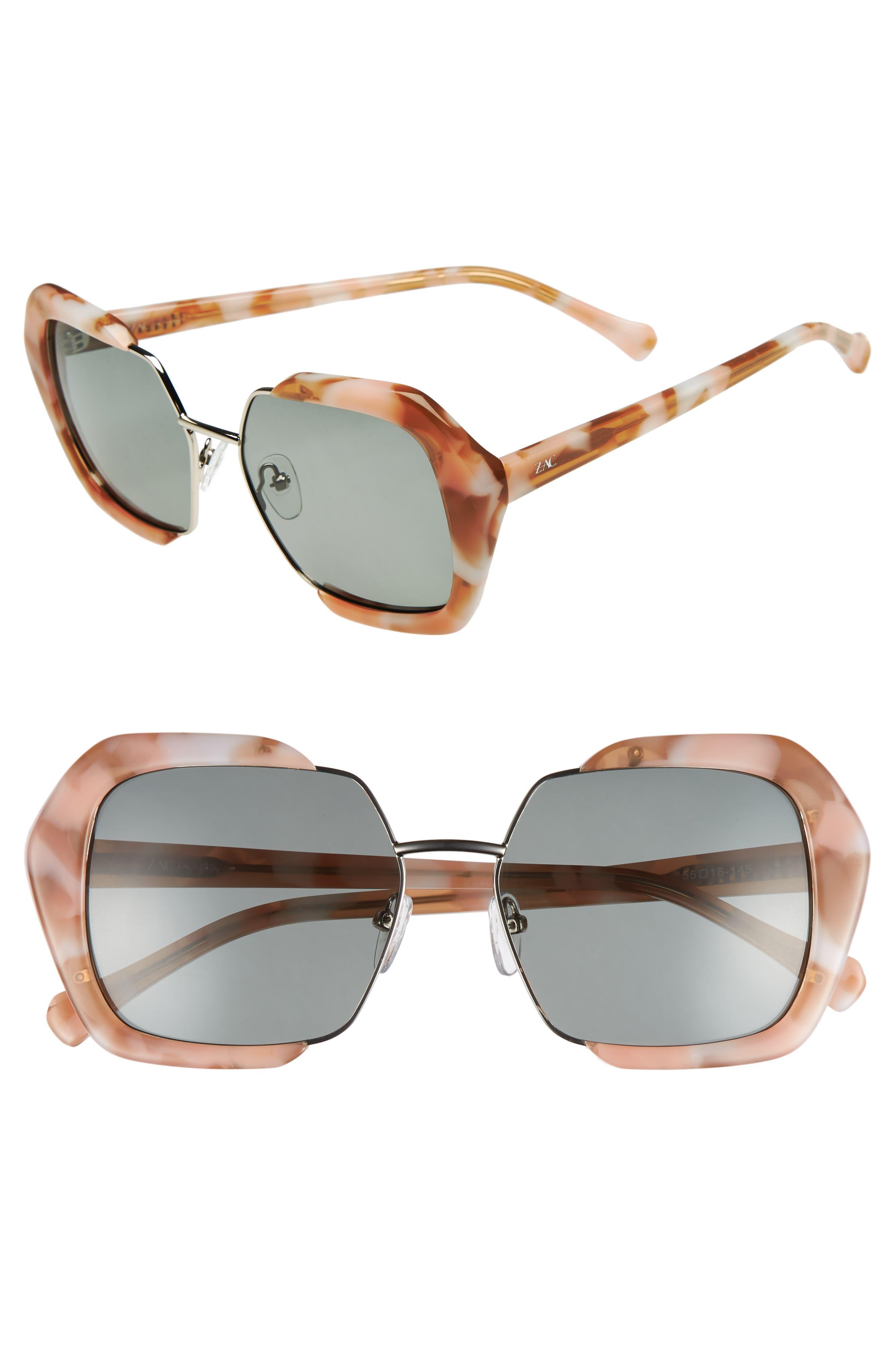 Isleen 55mm Polarized Sunglasses,                             Main thumbnail 1, color,                             Pink/ Tortoise/ Gold